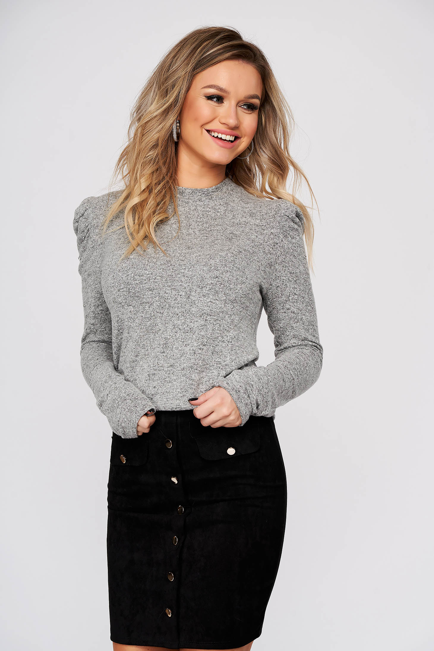 Grey sweater casual high shoulders with crystal embellished details