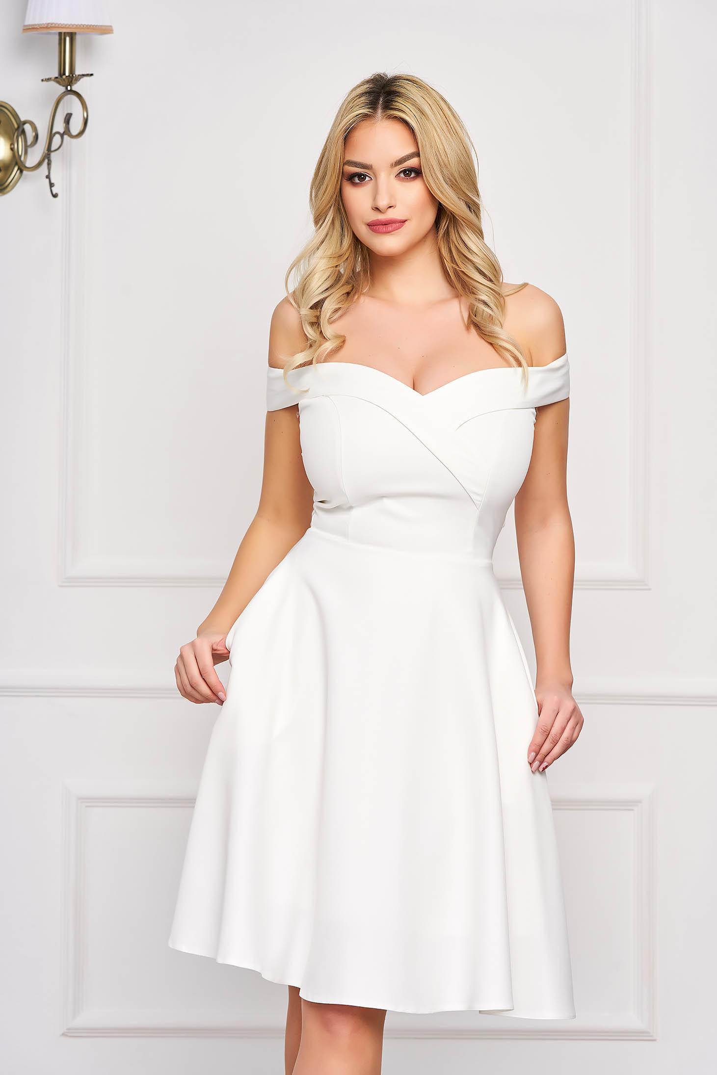Fehér StarShinerS alkalmi midi váll nélküli harang ruha