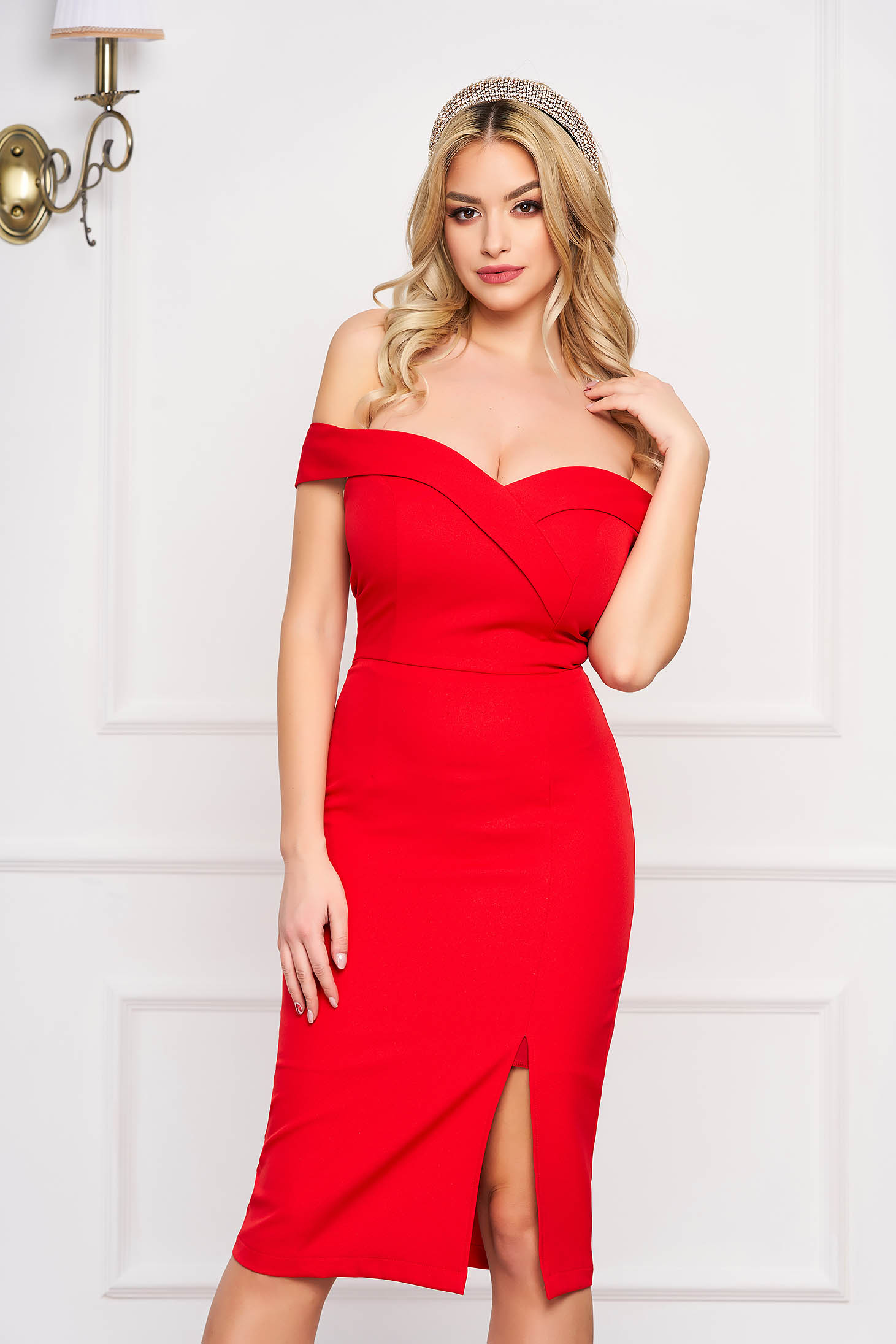 StarShinerS red dress slit occasional off-shoulder midi pencil
