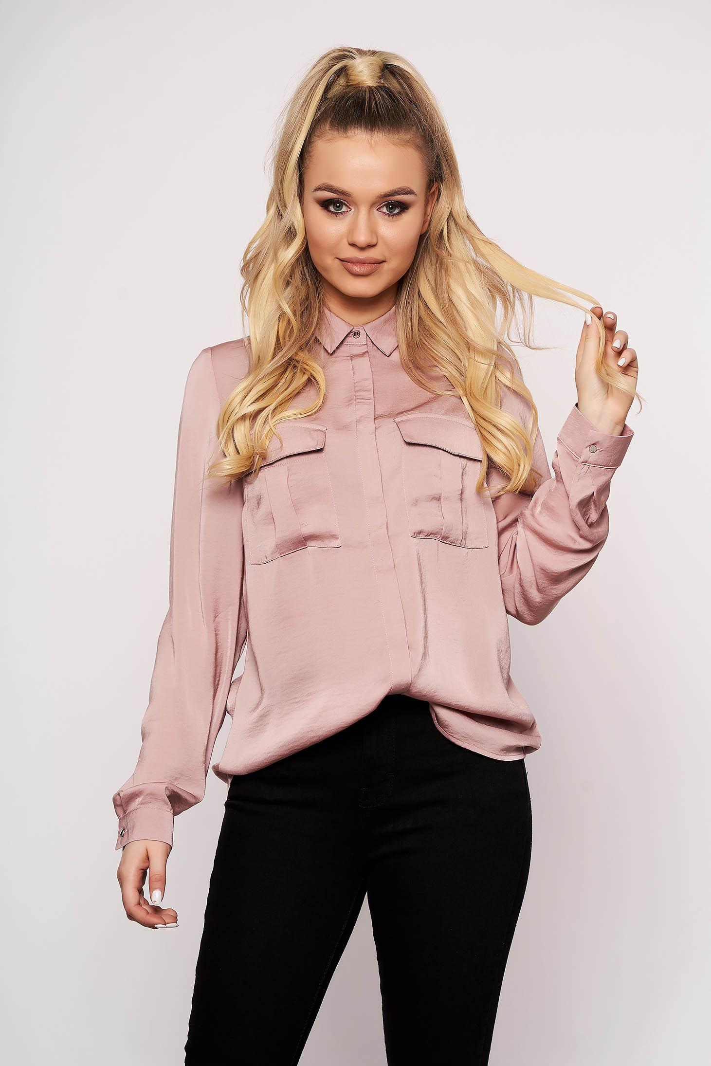 Pink casual rövid bő szabású zsebes női ing hosszú ujjakkal szaténból