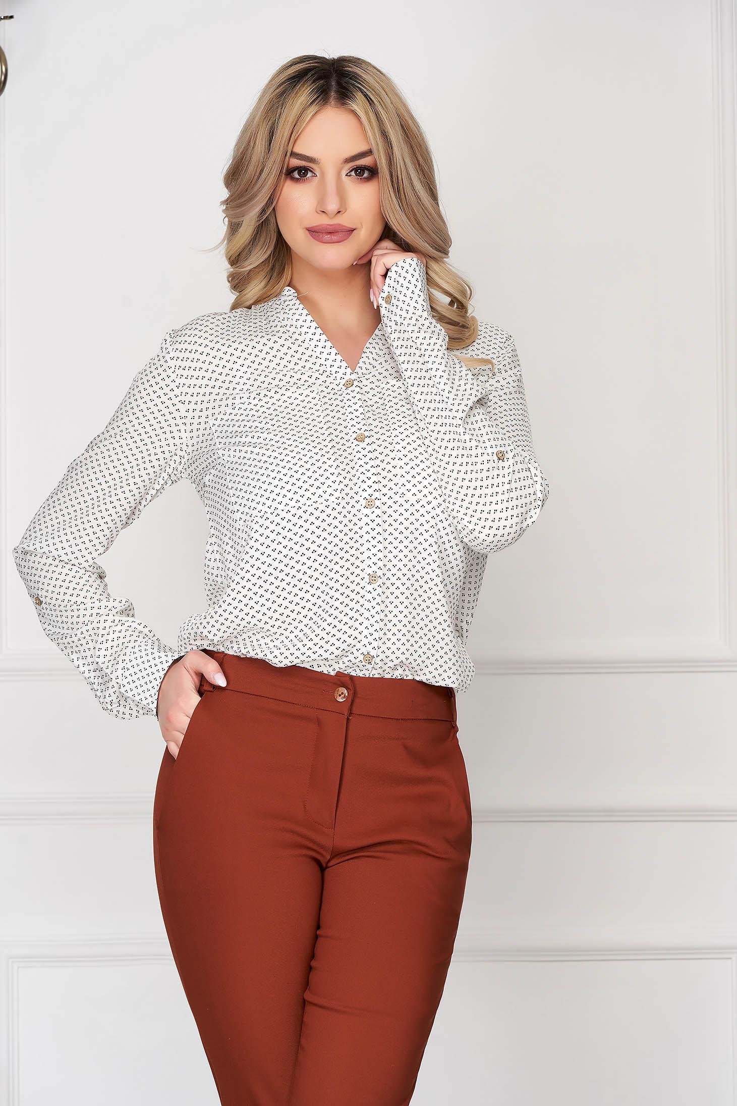 White women`s shirt office short cut flared long sleeved