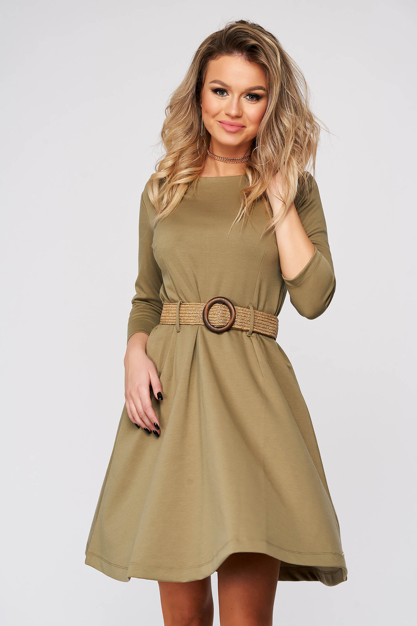 Green dress short cut daily cloche long sleeved accessorized with belt