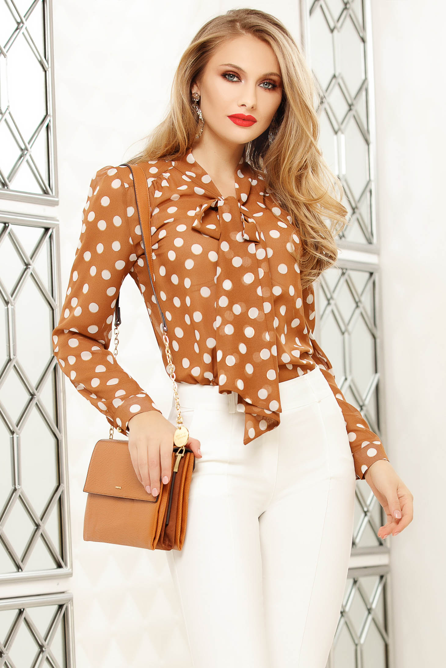 Brown women`s blouse from veil fabric dots print office long sleeved