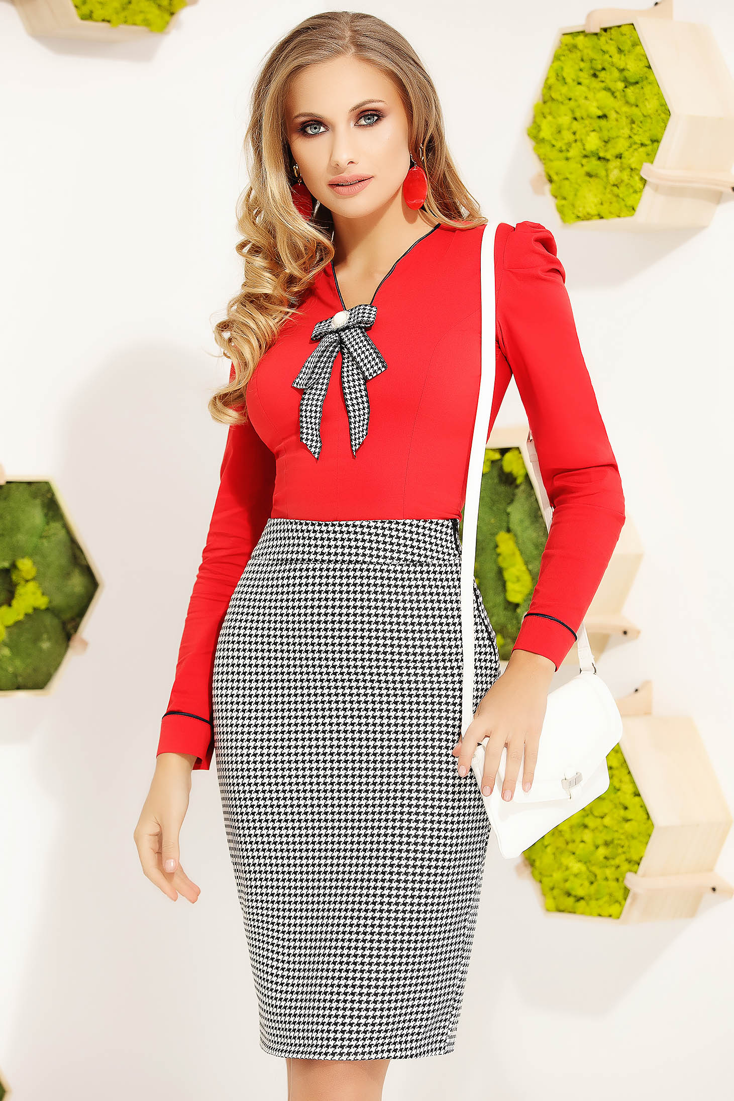 Red women`s shirt office tented cotton long sleeved bow accessory