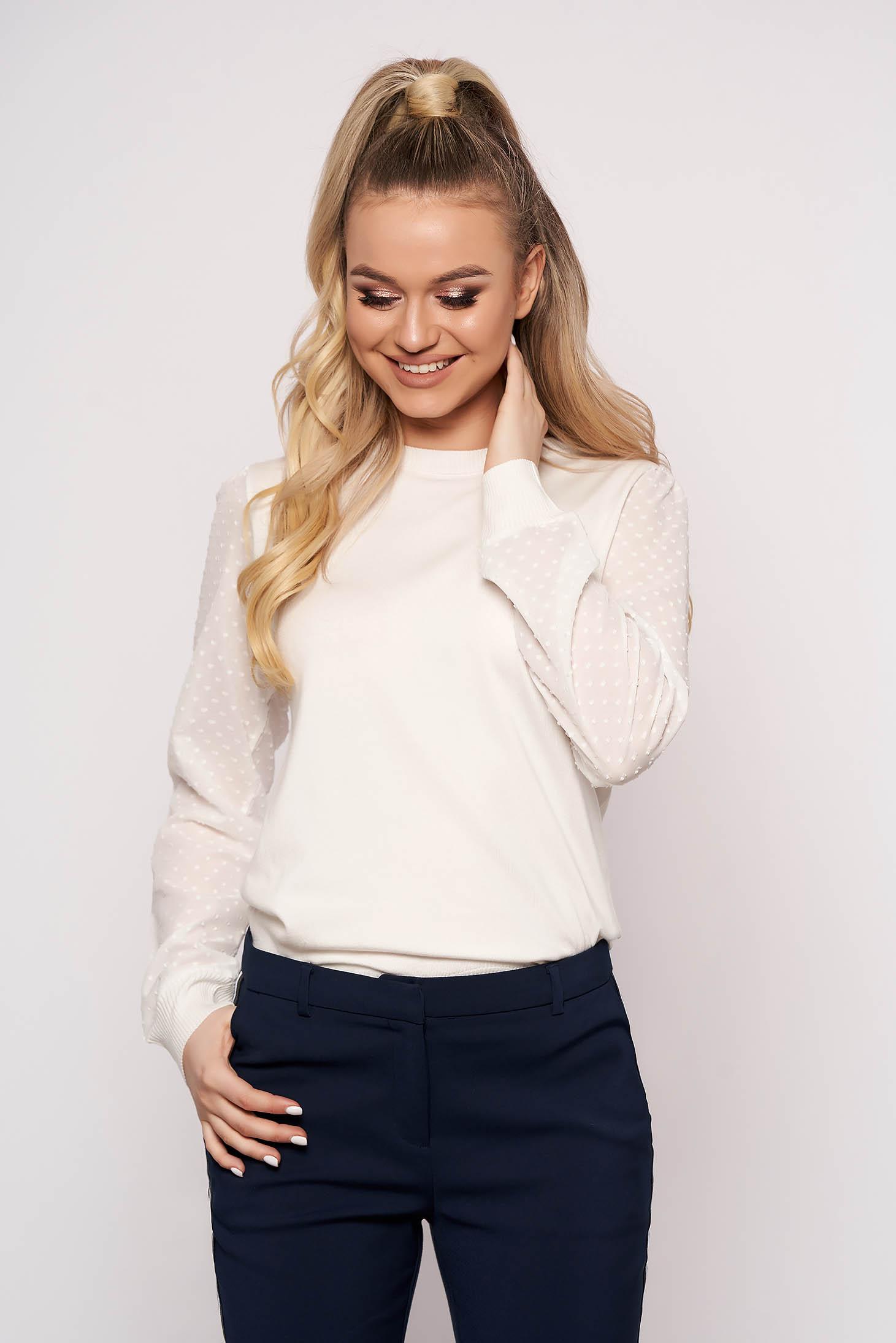 White sweater elegant short cut cotton plumeti long sleeved