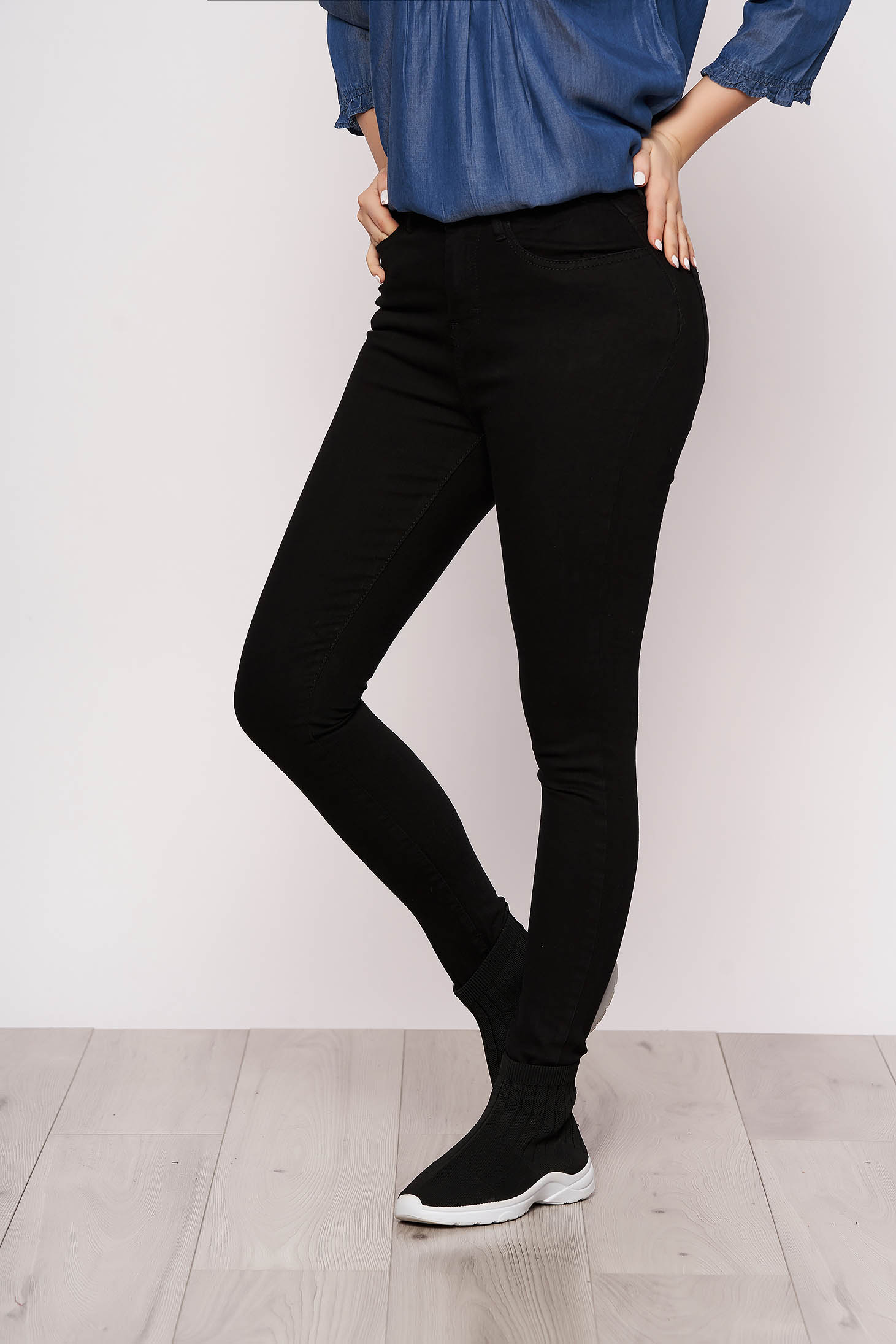 Black jeans denim casual high waisted with pockets