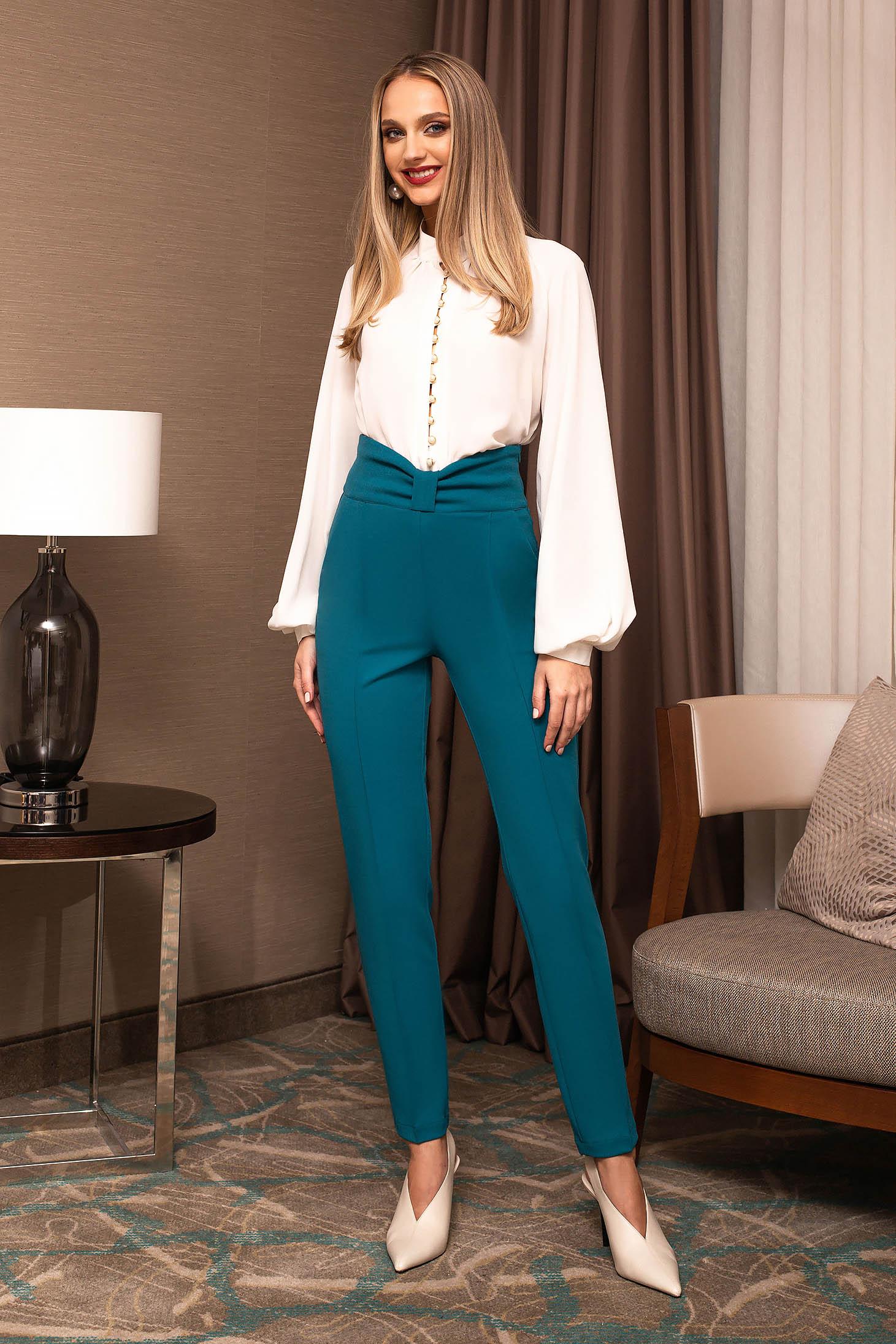 Pantaloni PrettyGirl turcoaz office din stofa conici cu talie inalta accesorizat cu o fundita