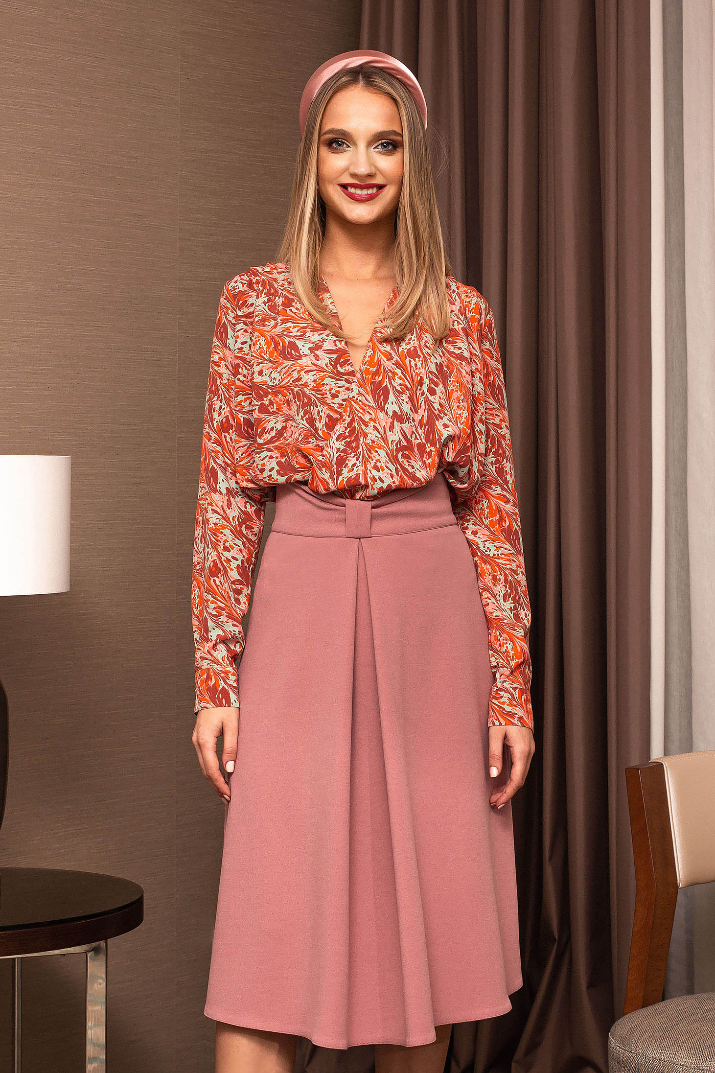 Women`s blouse bricky office with floral print with v-neckline long sleeve