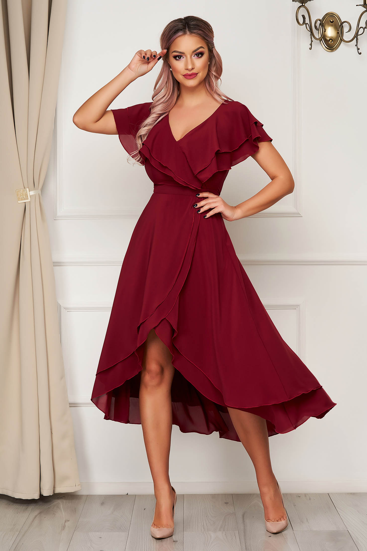 Dress StarShinerS burgundy occasional from veil fabric with ruffle details asymmetrical cloche