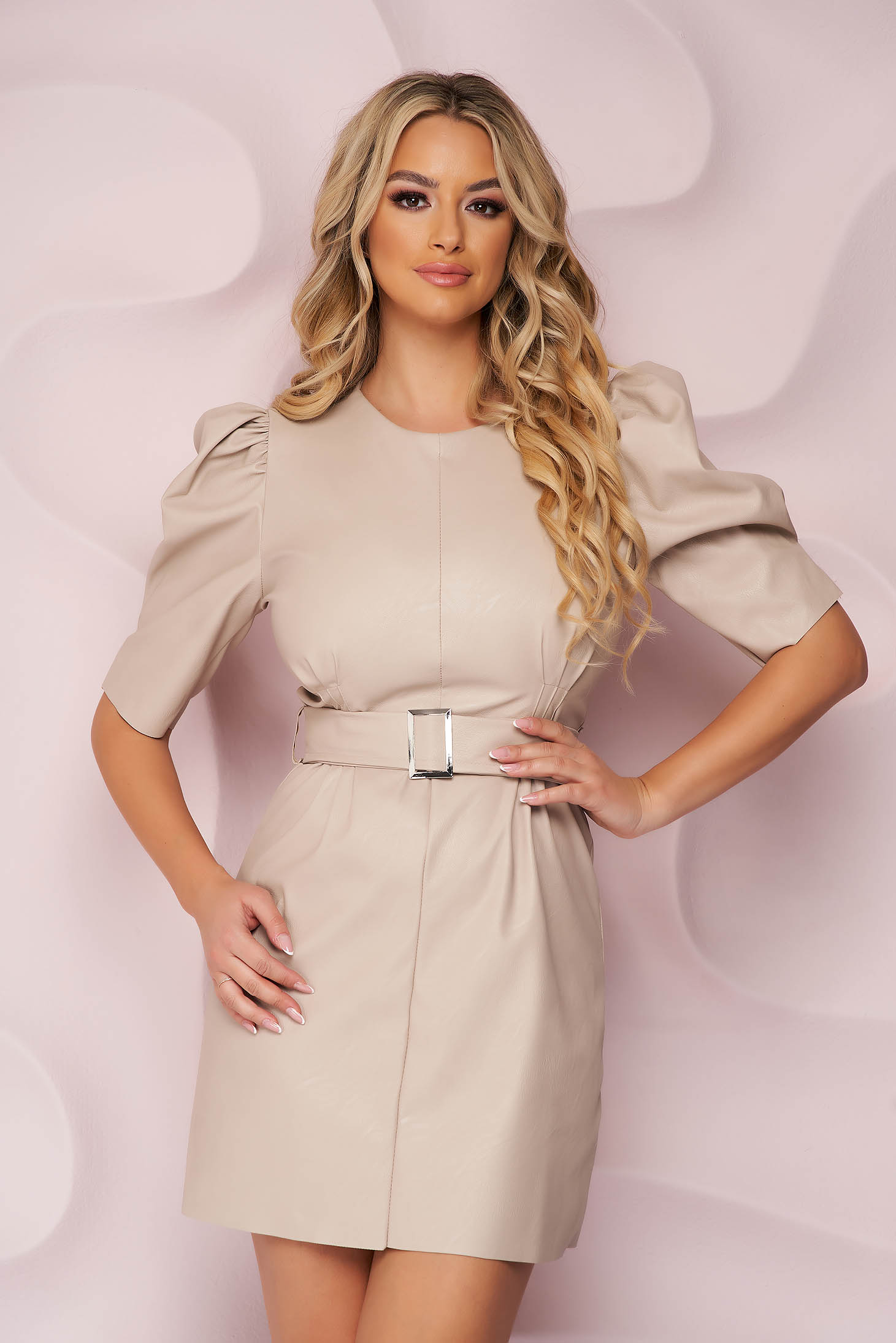 Cream dress from ecological leather accessorized with belt with puffed sleeves short cut straight