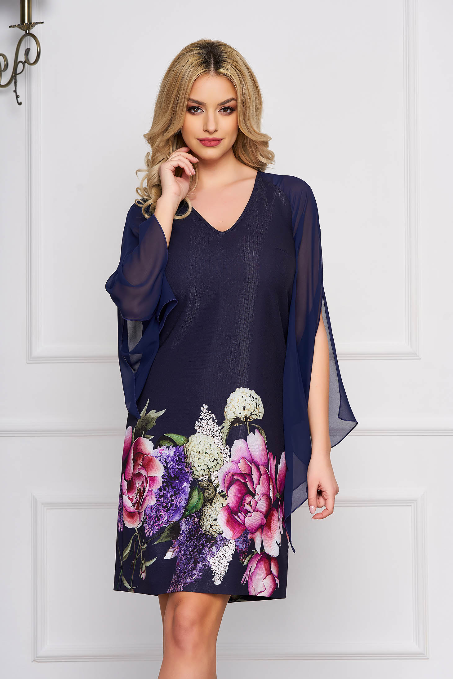 Occasional a-line short cut with floral prints with veil sleeves