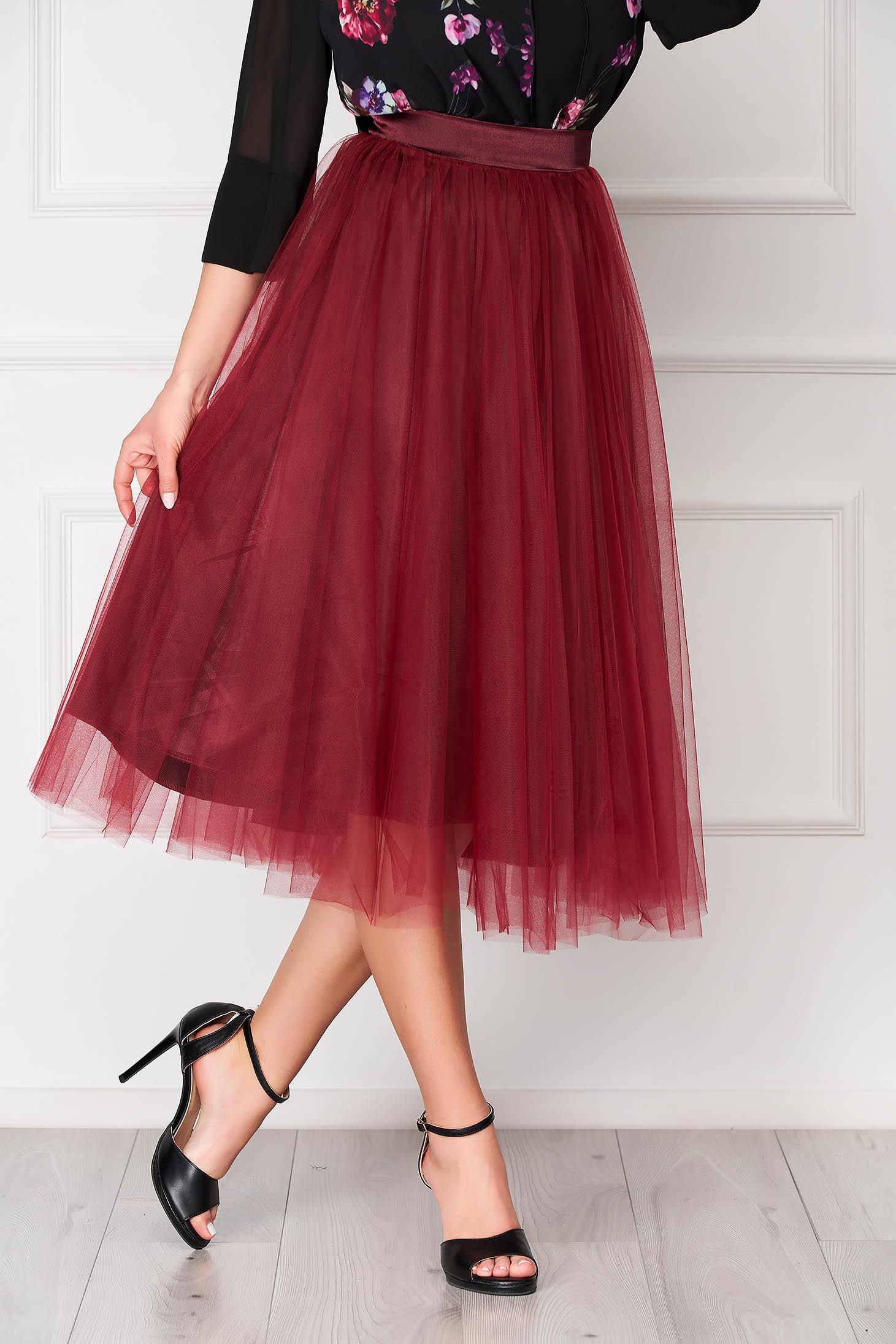 StarShinerS burgundy elegant midi high waisted cloche skirt from tulle