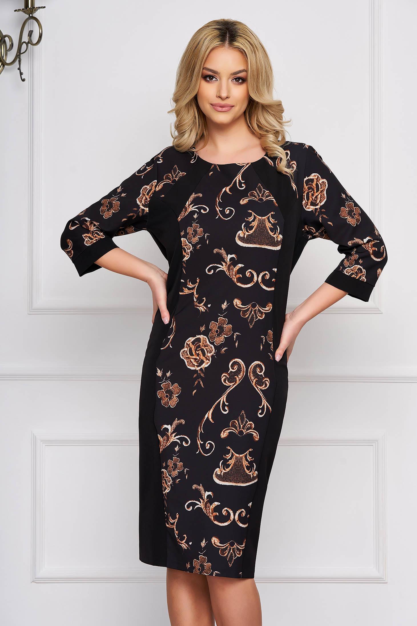 Rochie neagra eleganta midi cu un croi drept din stofa cu imprimeuri grafice