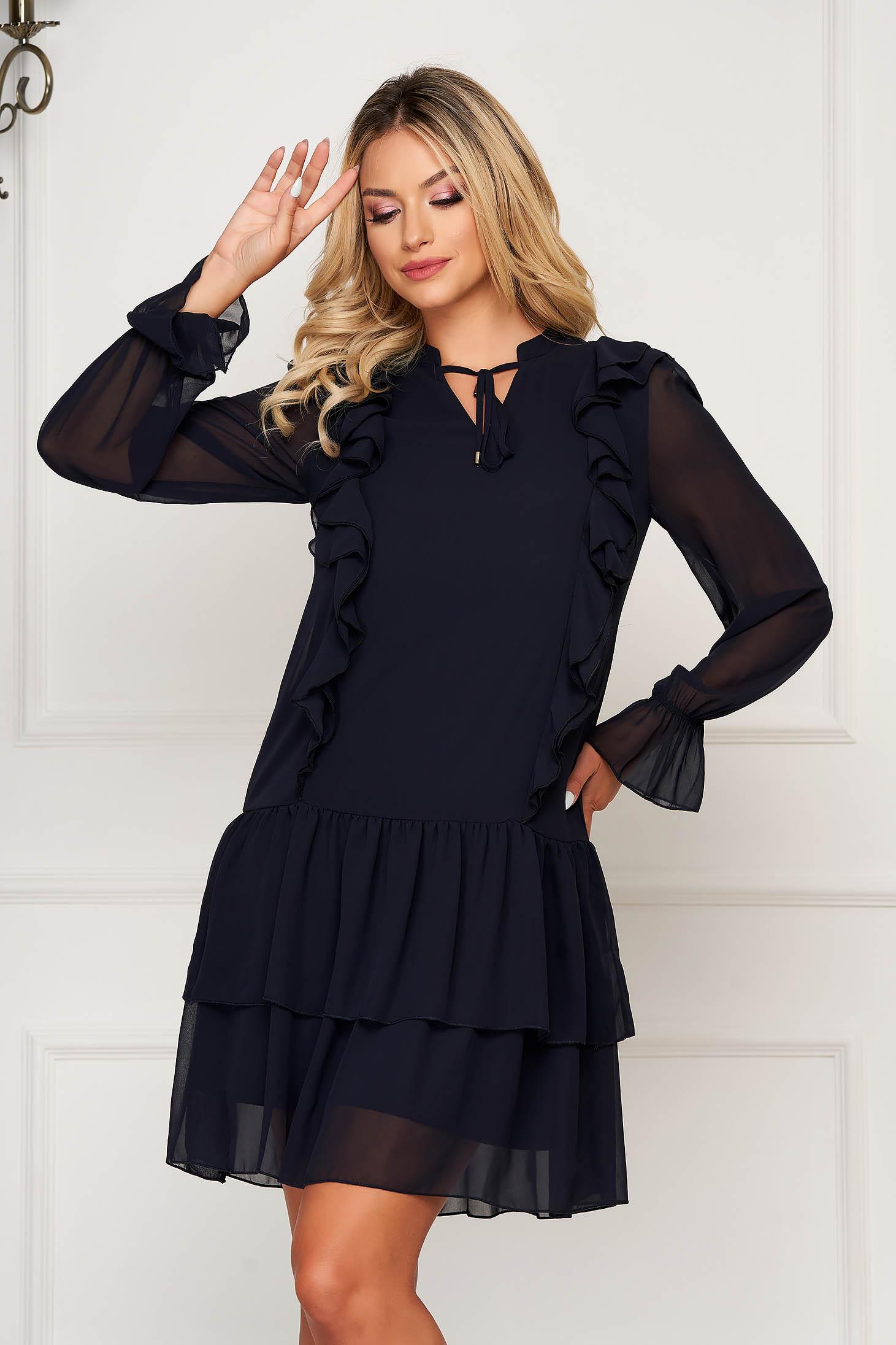 Darkblue dress short cut daily cloche from veil fabric long sleeved