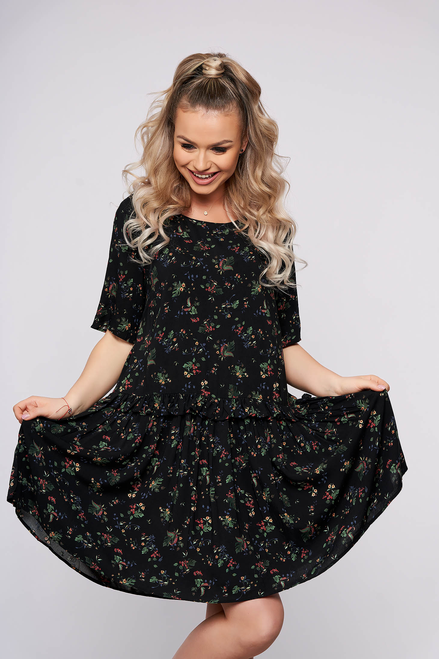 Black dress with floral prints with 3/4 sleeves daily flared short cut