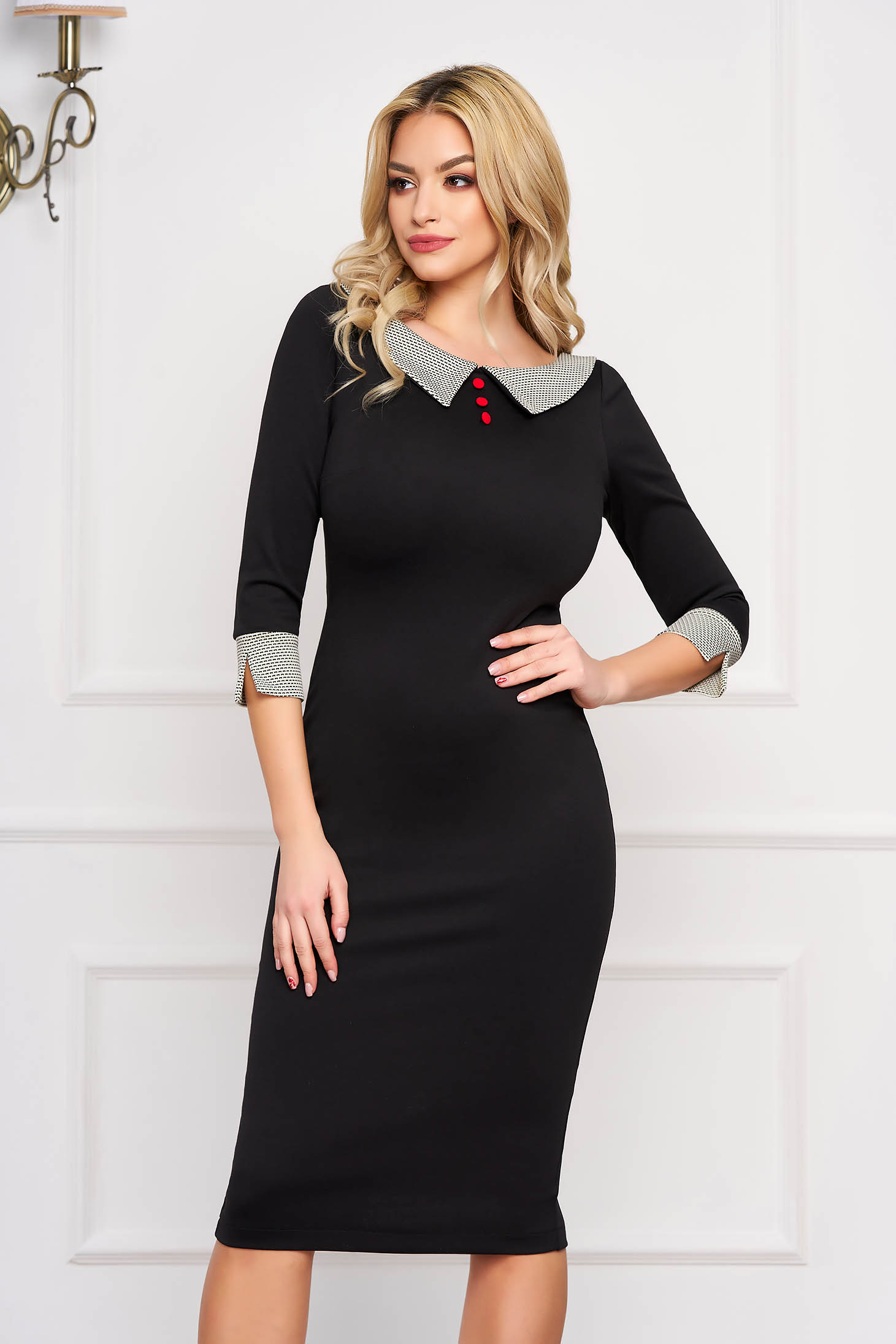 Office pencil midi with large collar with cut back