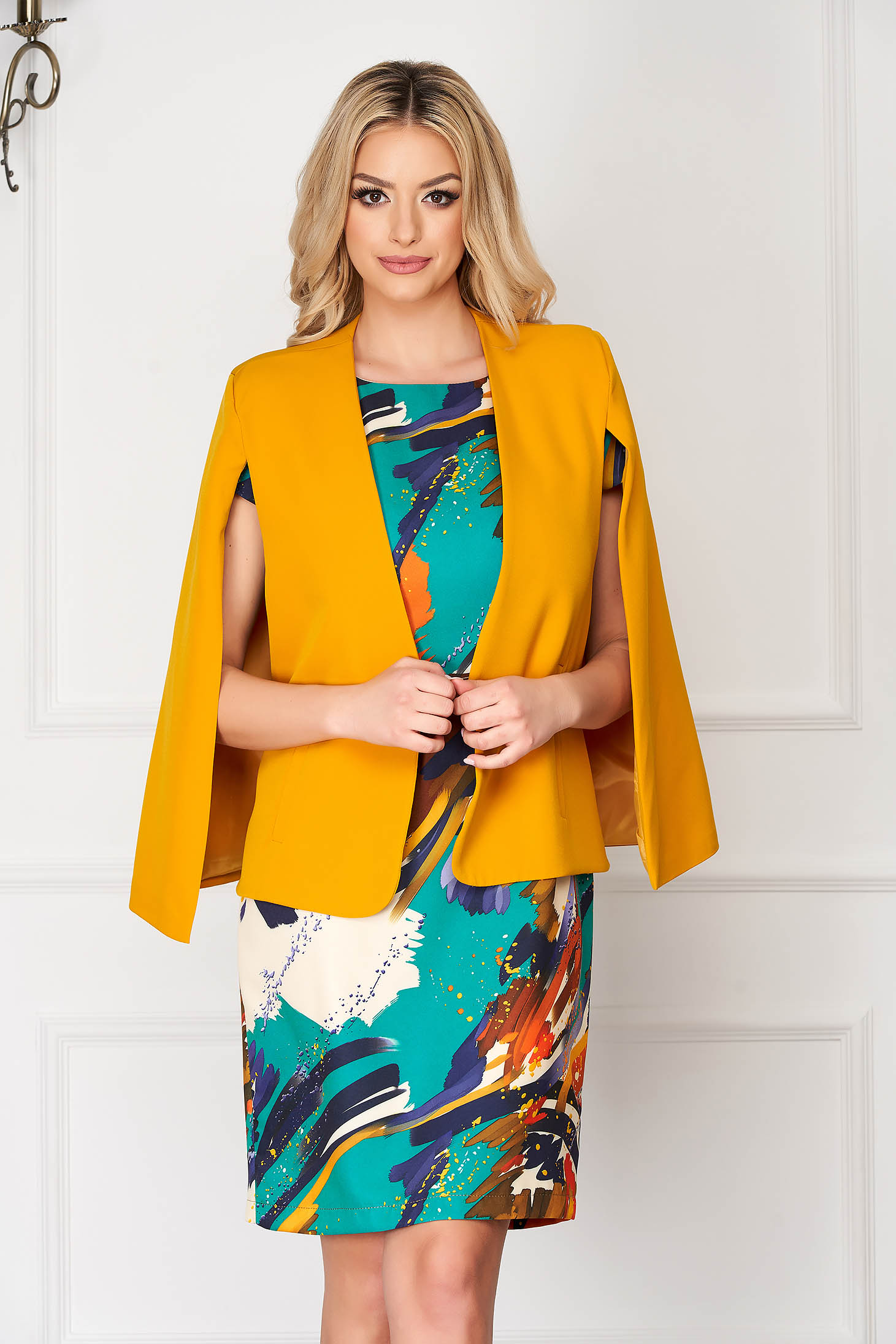 Mustard jacket elegant cloth short cut flared