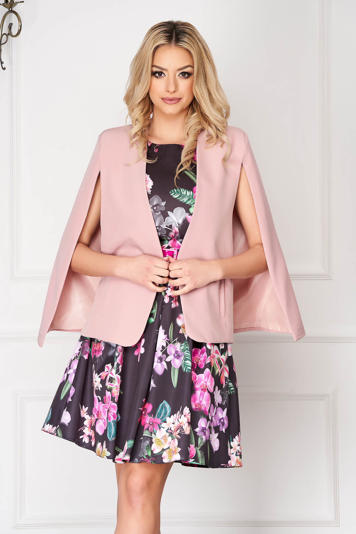 Sacou SunShine roz elegant scurt tip capa din stofa cu croi larg