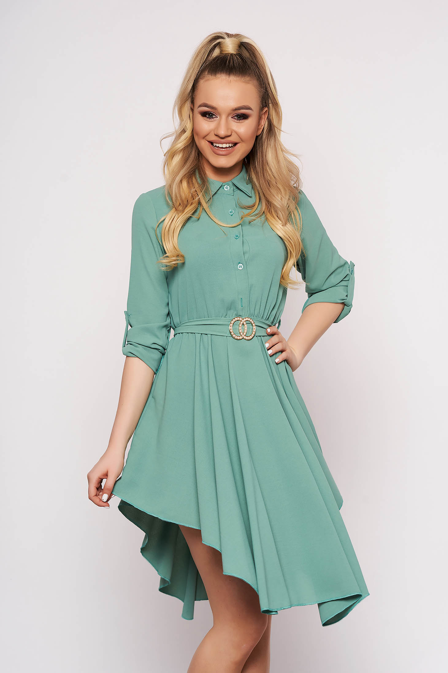 Green dress cloche asymmetrical with button accessories daily