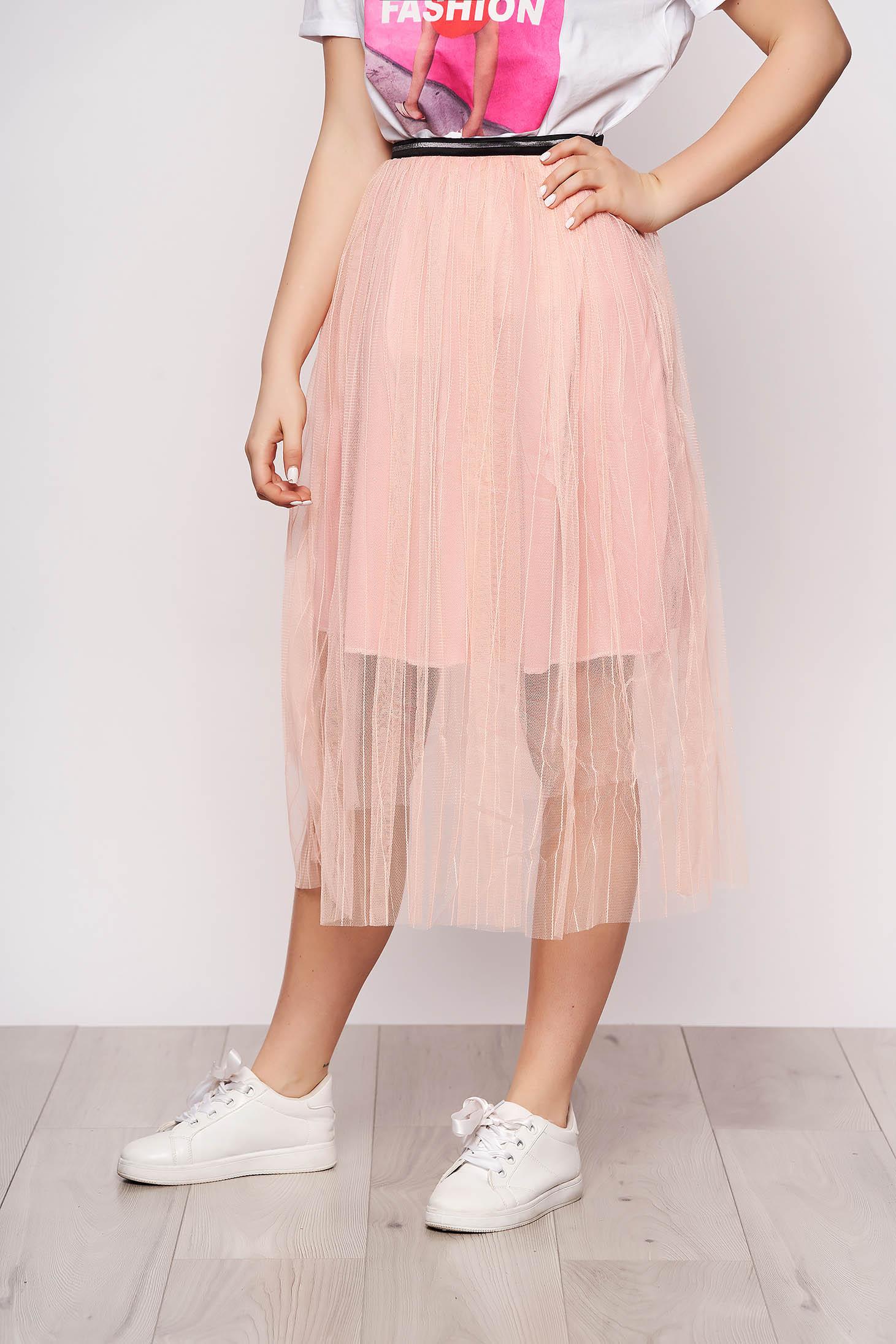 Púder rózsaszínű szoknya casual midi harang tüllből gumírozott derekú béléssel