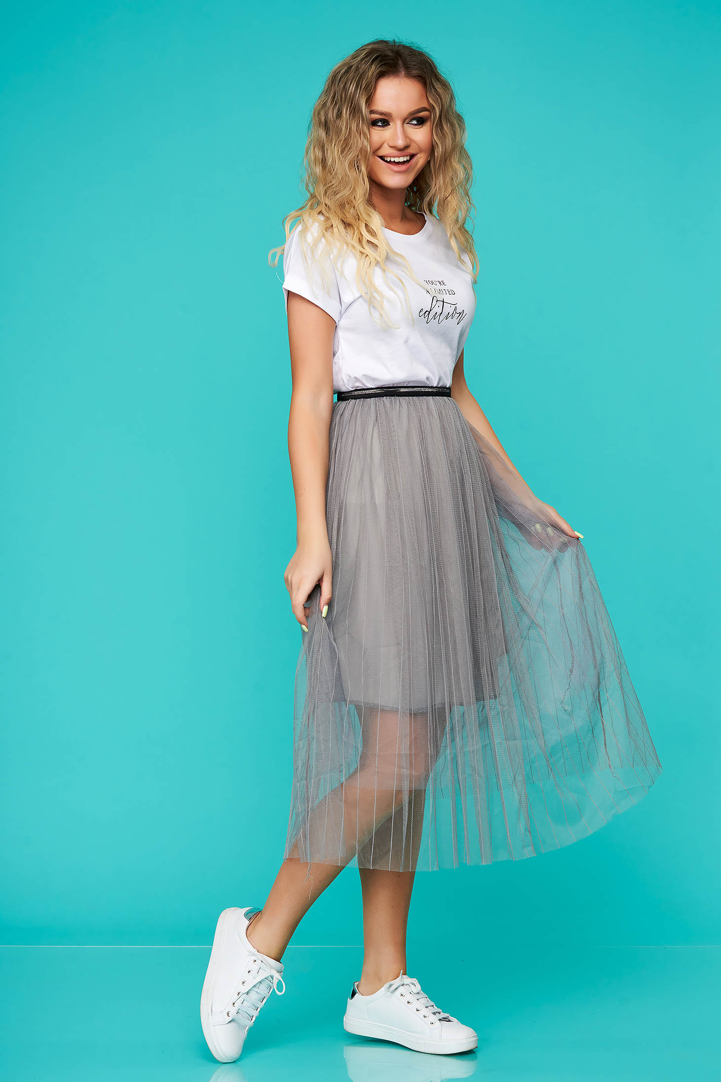 Grey skirt casual midi cloche from tulle with elastic waist with inside lining