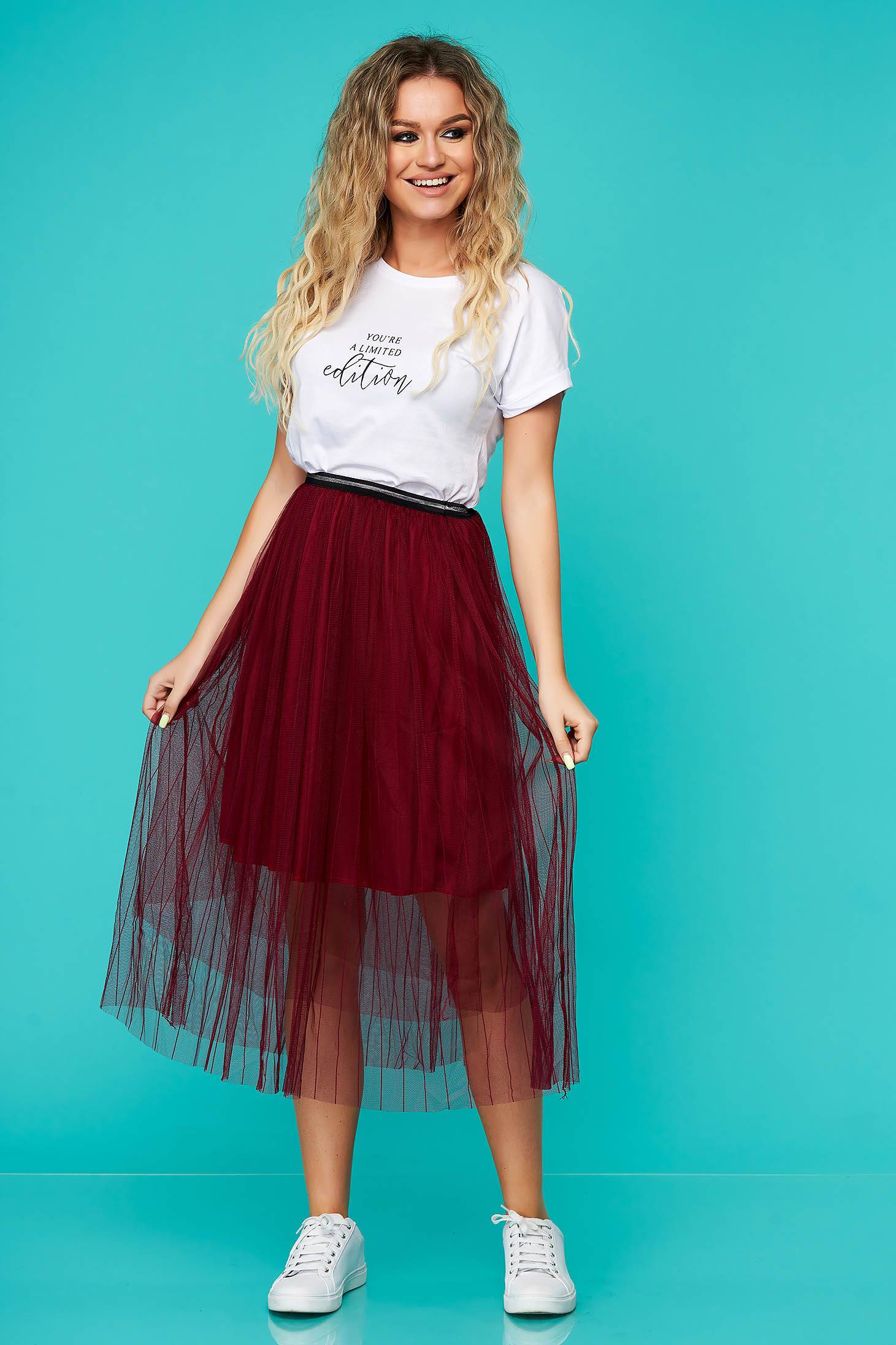 Burgundy skirt casual midi cloche from tulle with elastic waist with inside lining