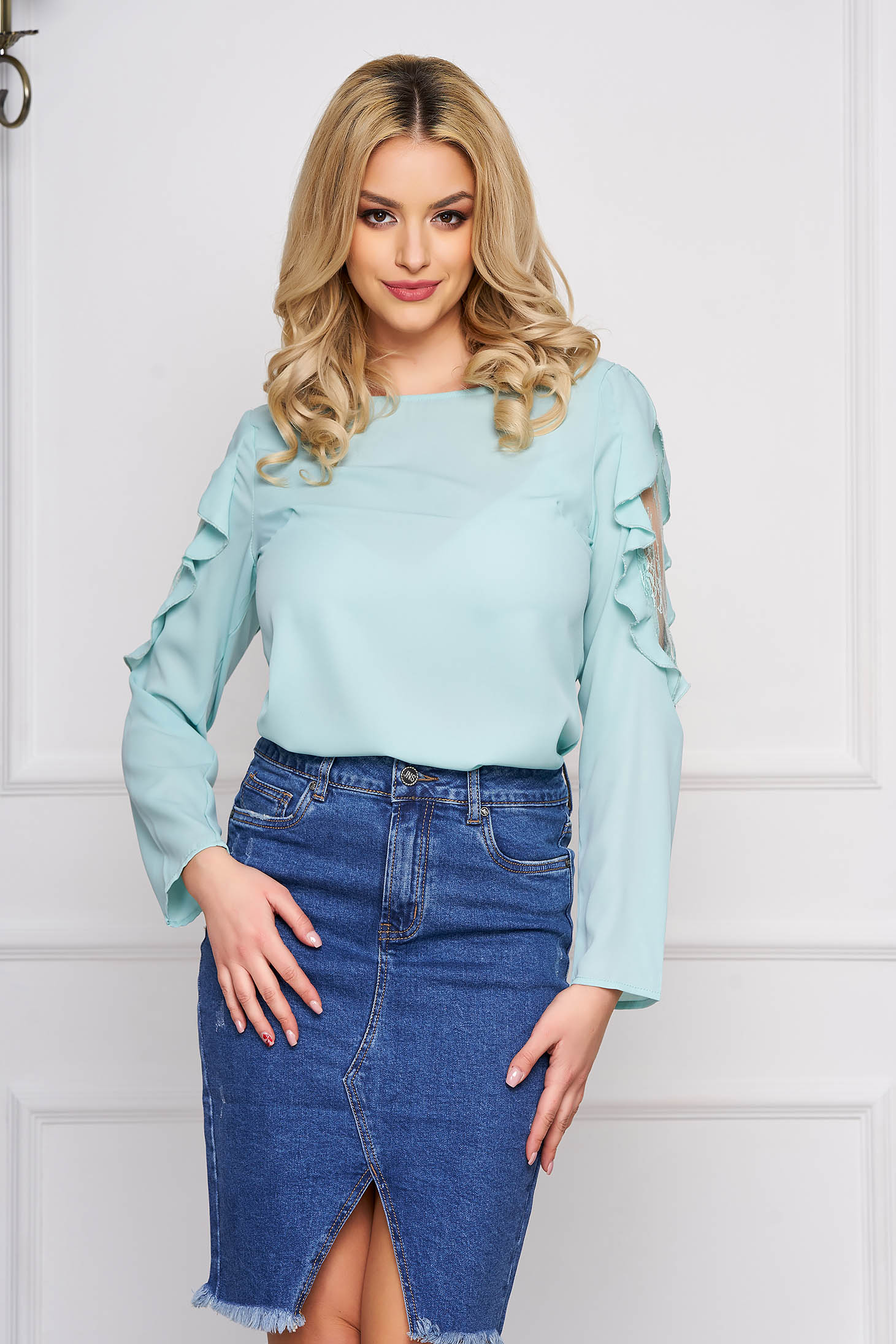 Lightgreen women`s blouse from veil fabric elegant with lace details flared short cut