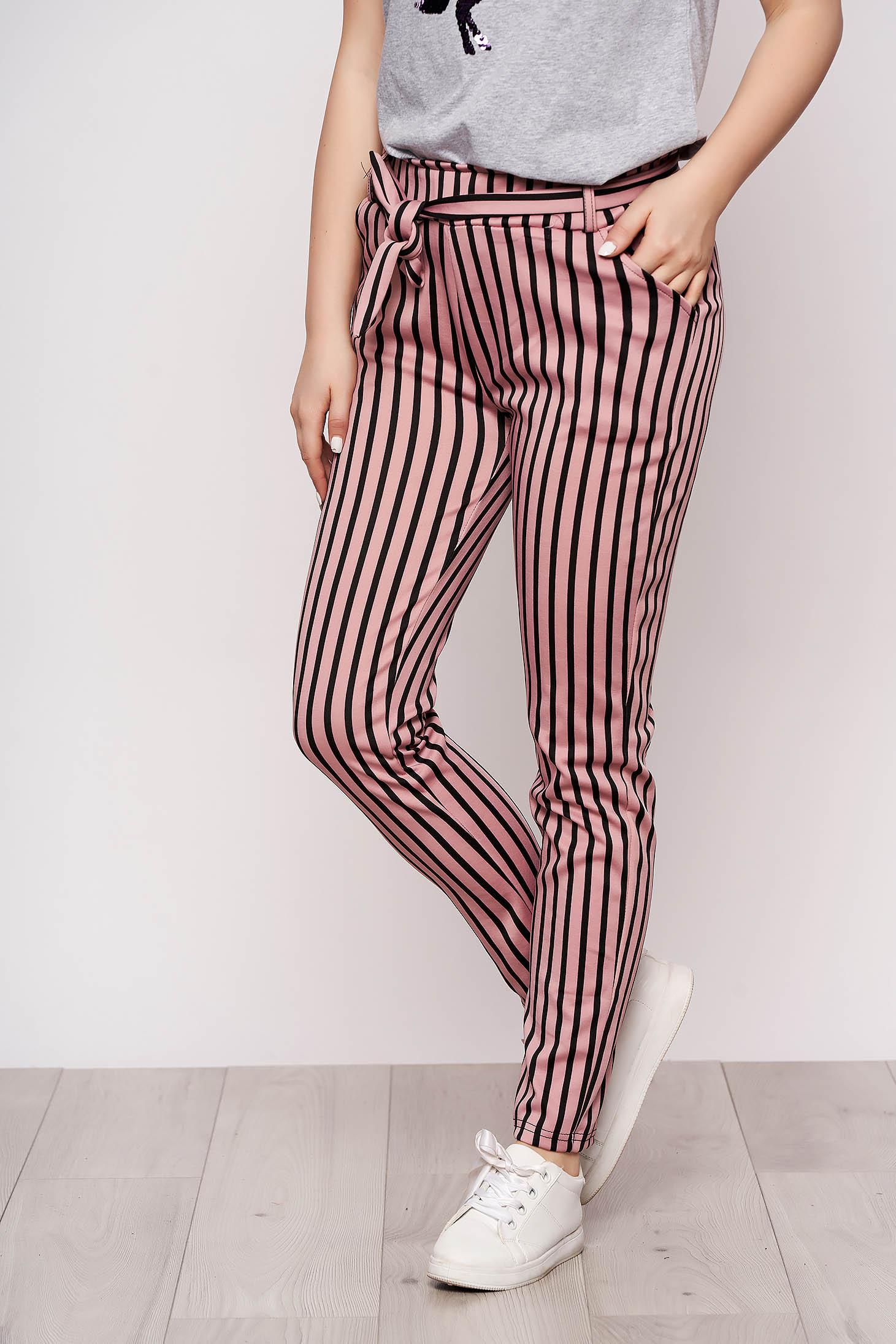 Pink csíkos casual zsebes nadrág vékony anyagból eltávolítható övvel