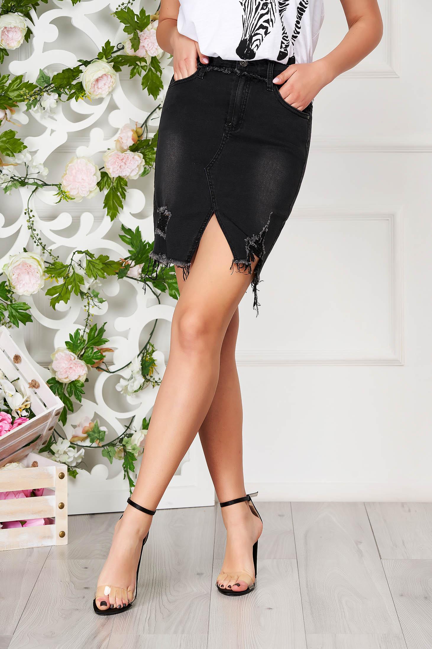 Fekete cipzárral és gombbal zárható casual magas derekú rövid zsebes ceruza szoknya farmerből