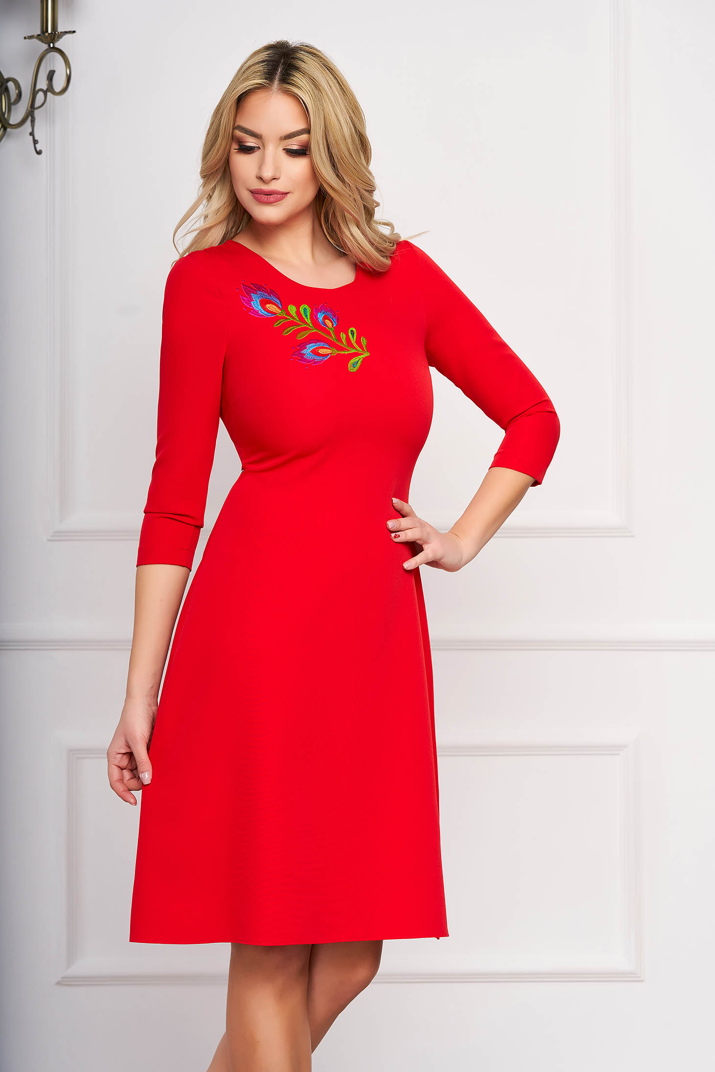 Dress StarShinerS red midi occasional cloche cloth