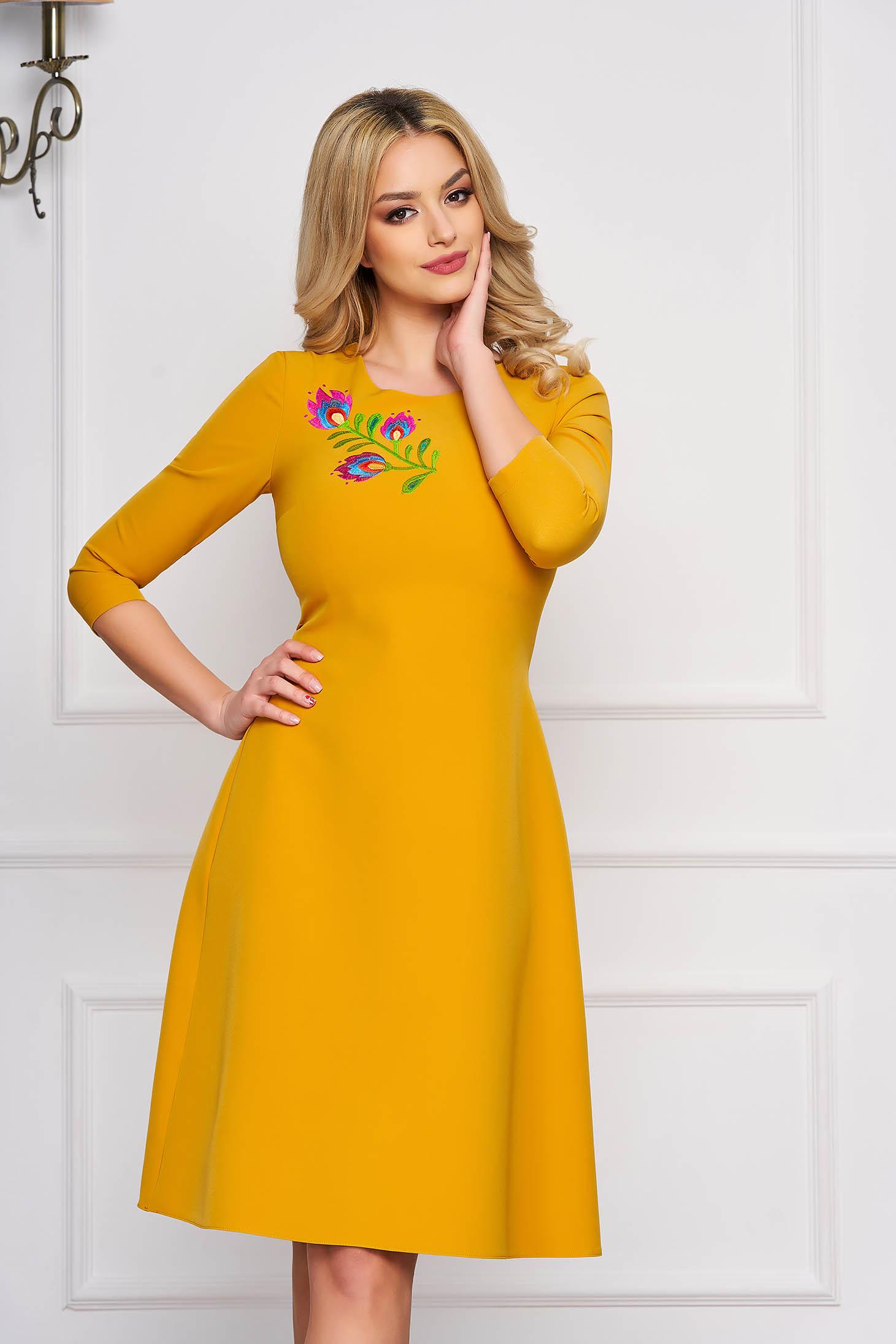 Dress StarShinerS mustard midi occasional cloche cloth
