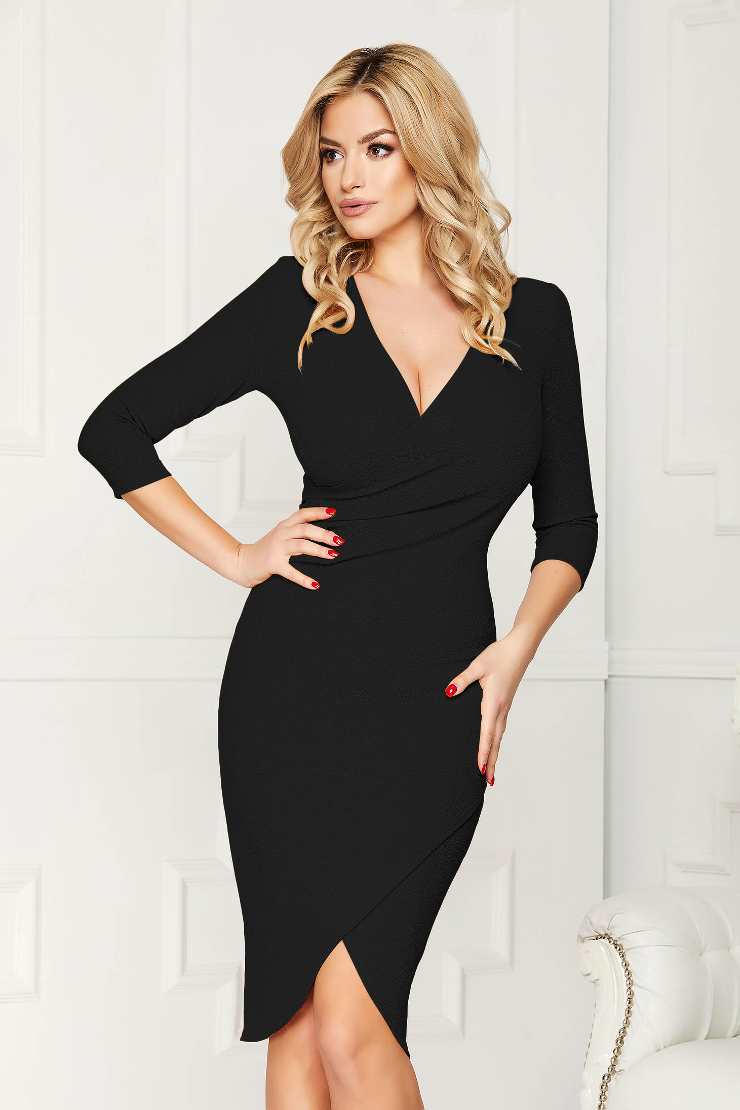 StarShinerS black office wrap around dress from elastic fabric with tented cut with v-neckline