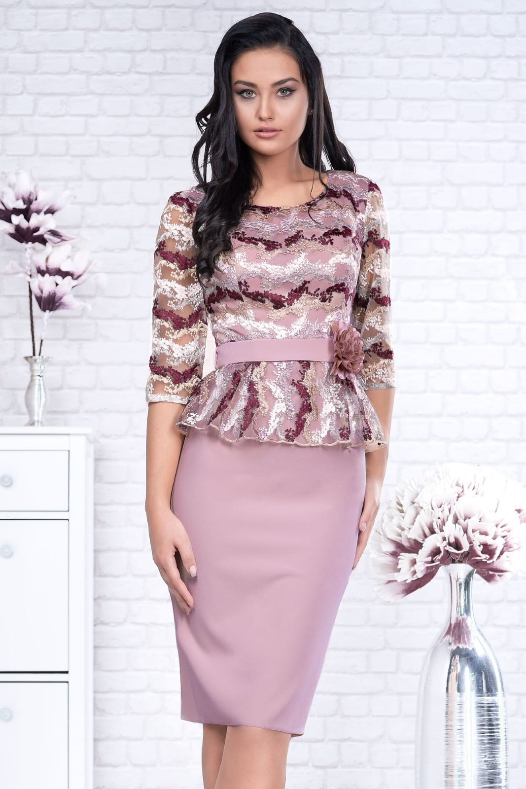 Lightpink dress occasional accessorized with belt with 3/4 sleeves pencil peplum cloth