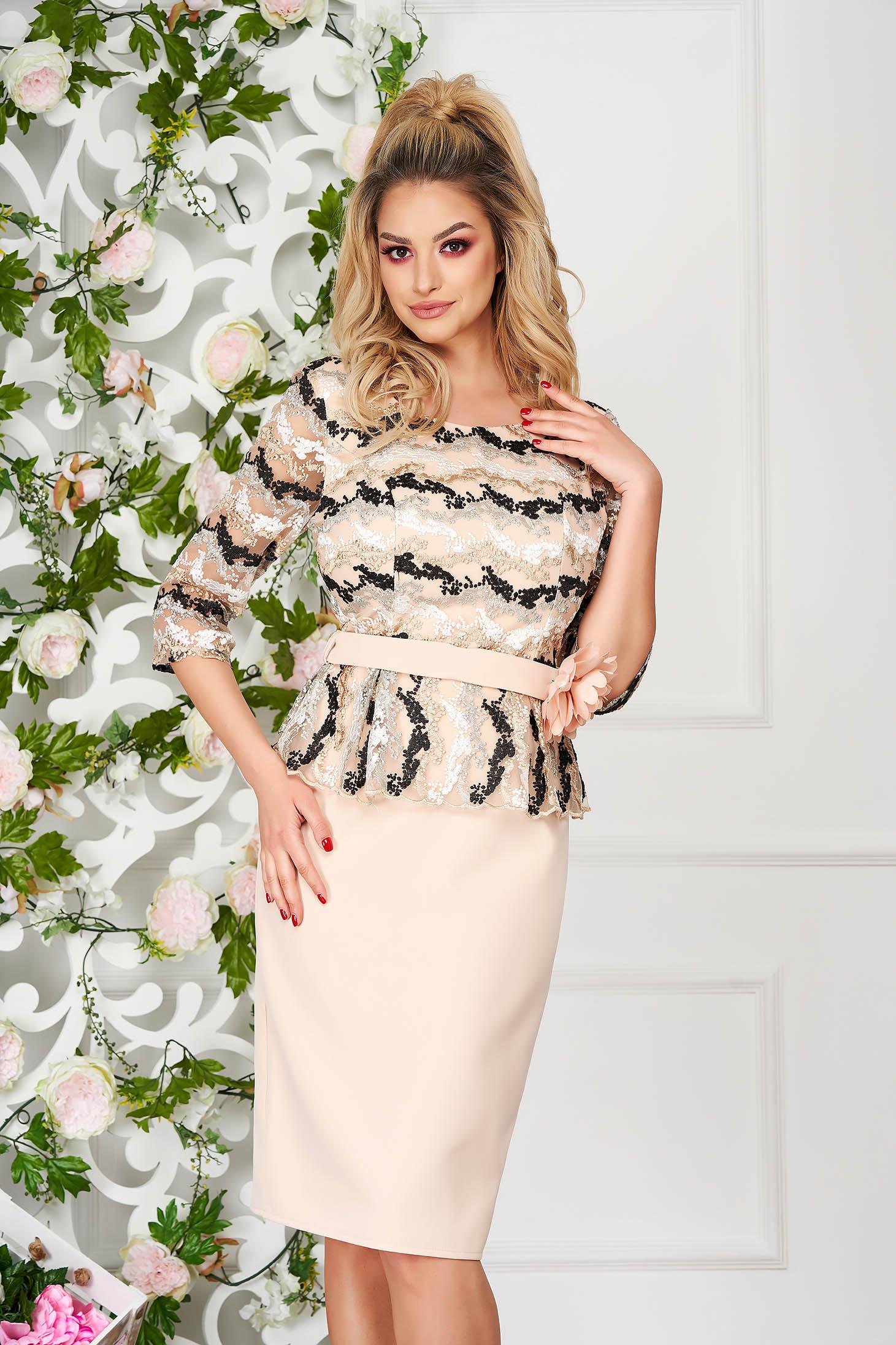 Cream dress occasional accessorized with belt pencil peplum cloth