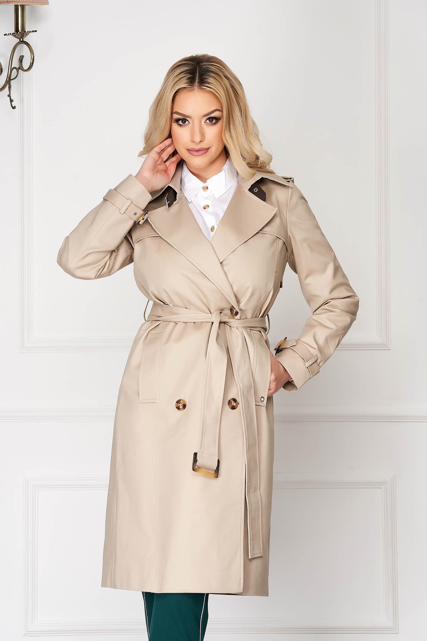 Palton Top Secret piersica office cu un croi drept cu buzunare si cordon detasabil