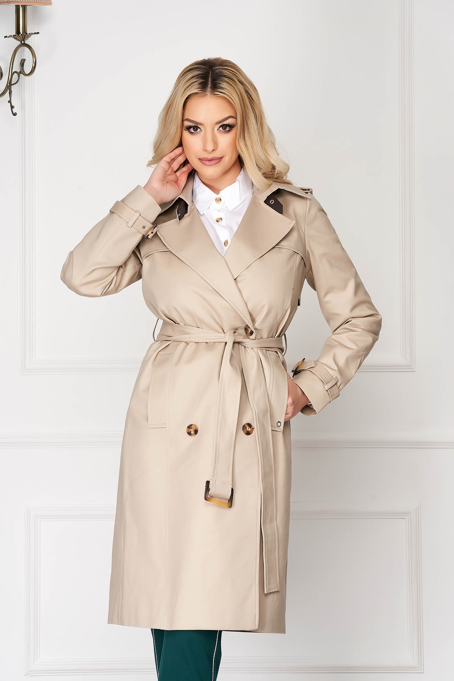 Peach office coat straight cut with pockets detachable cord
