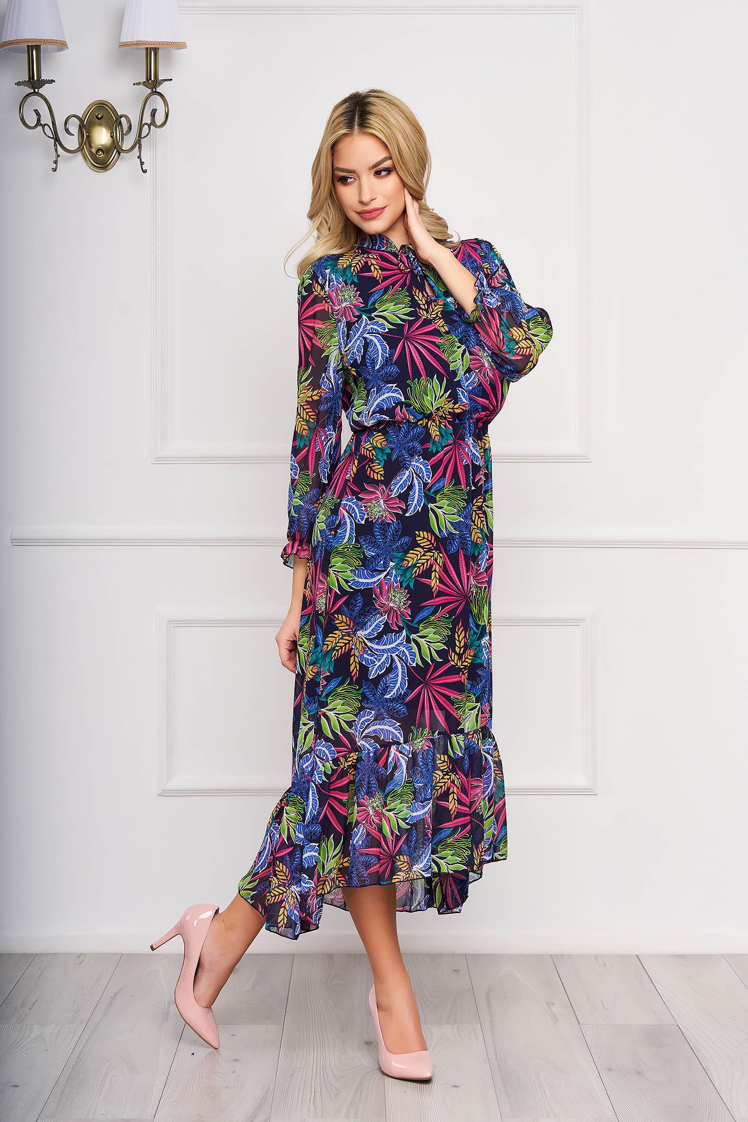Rochie albastru-inchis asimetrica eleganta din voal cu imprimeuri florale si elastic in talie