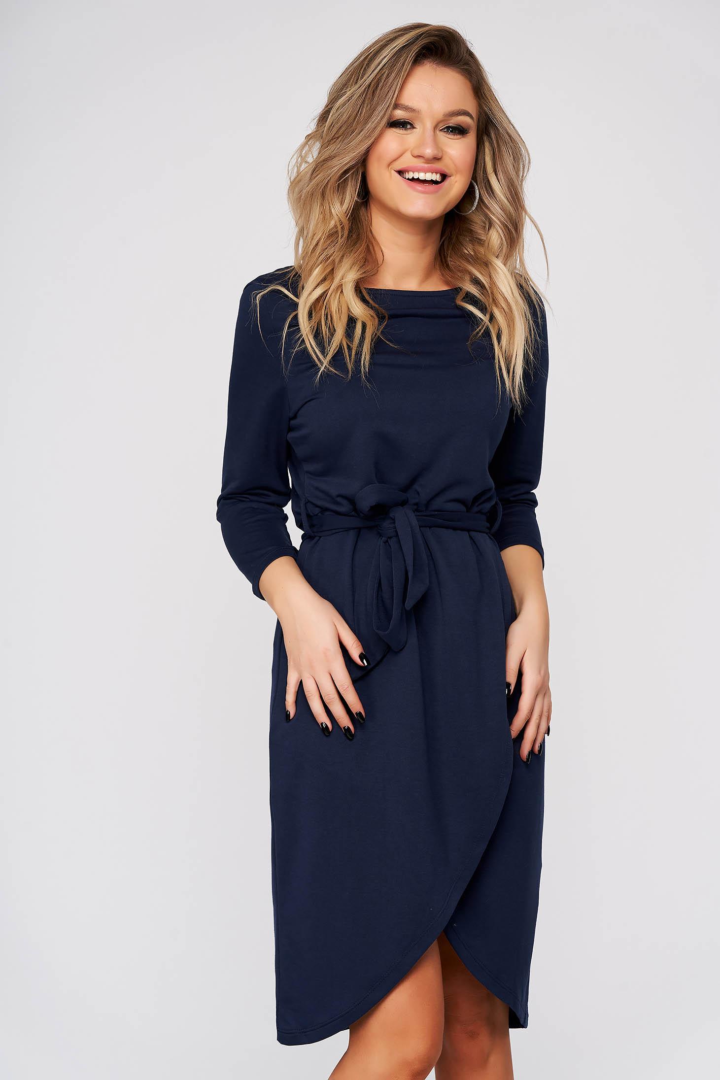 Darkblue dress daily asymmetrical with elastic waist long sleeved