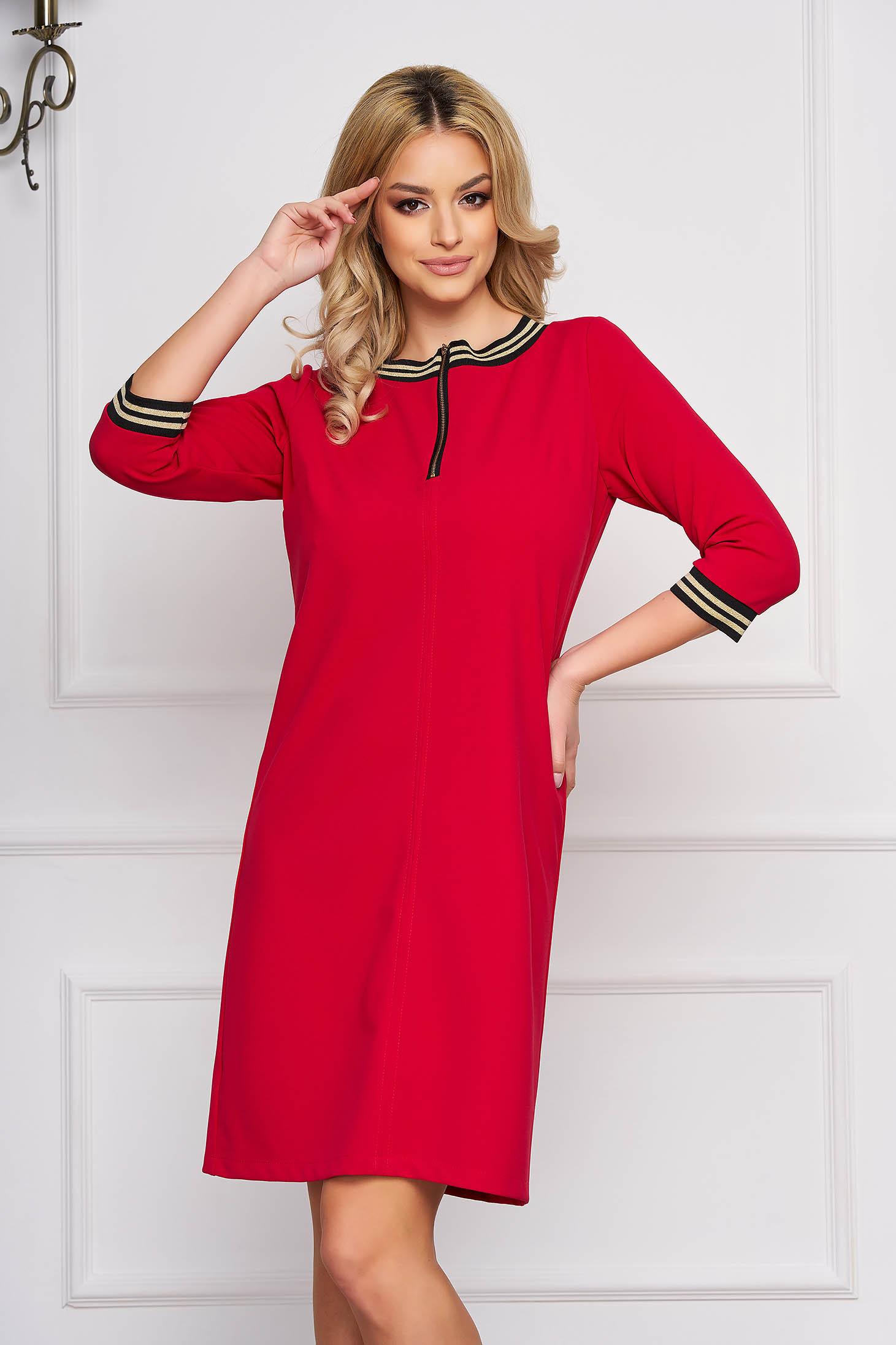 StarShinerS fuchsia dress a-line cloth zipper accessory short cut elegant