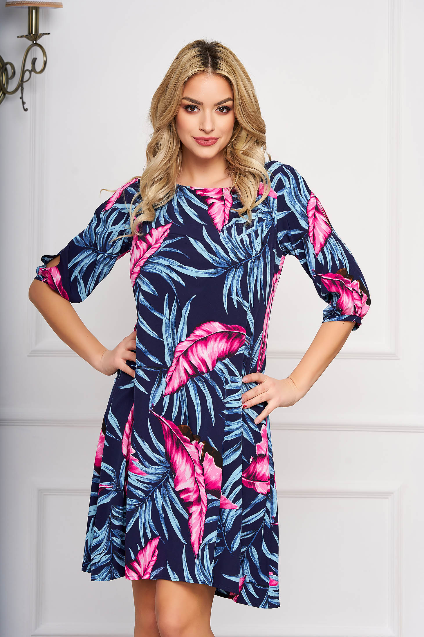 Blue dress from veil fabric with floral print a-line with 3/4 sleeves elegant short cut