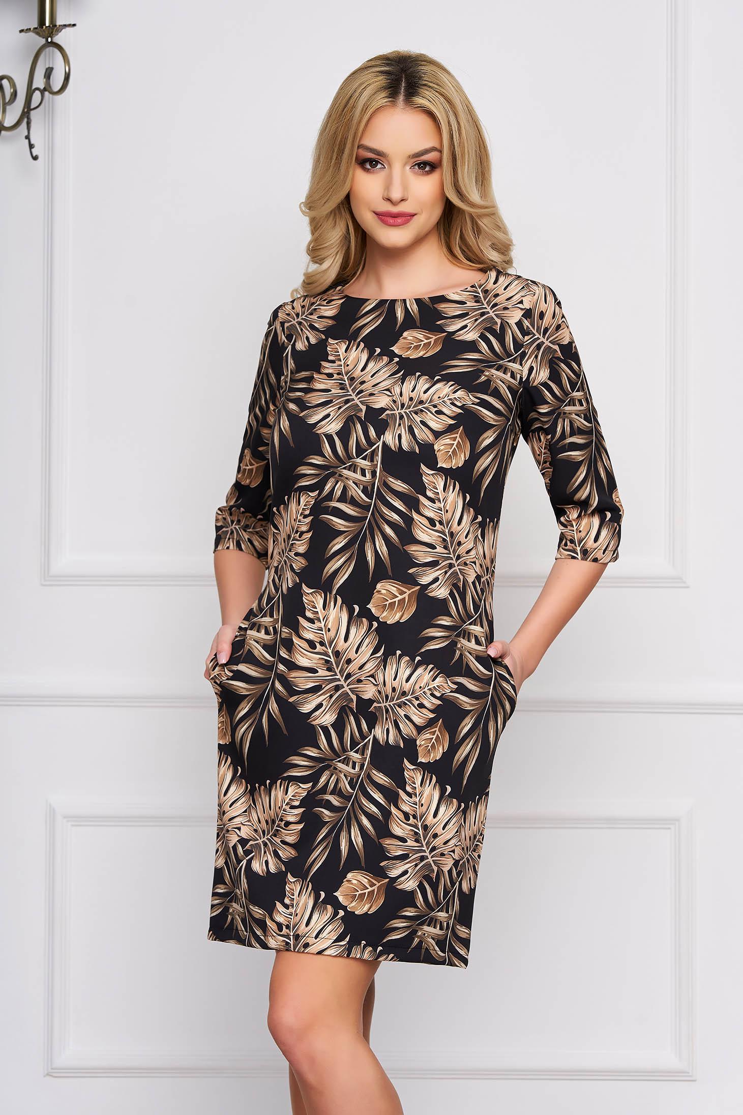 Rochie StarShinerS neagra eleganta scurta cu croi in a din stofa cu imprimeuri florale