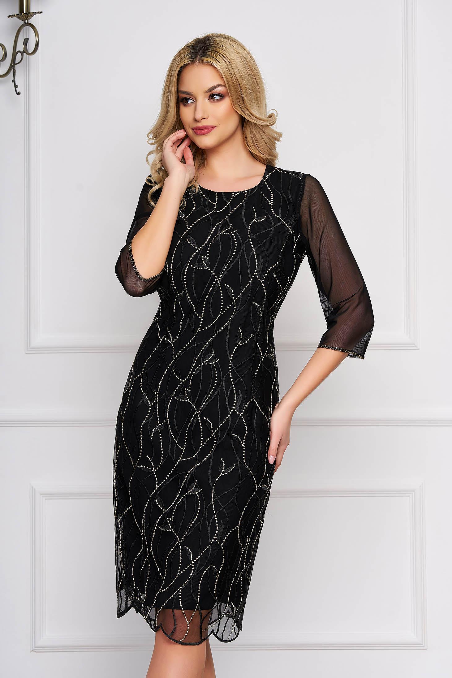 StarShinerS black dress elegant with 3/4 sleeves cloth pencil midi