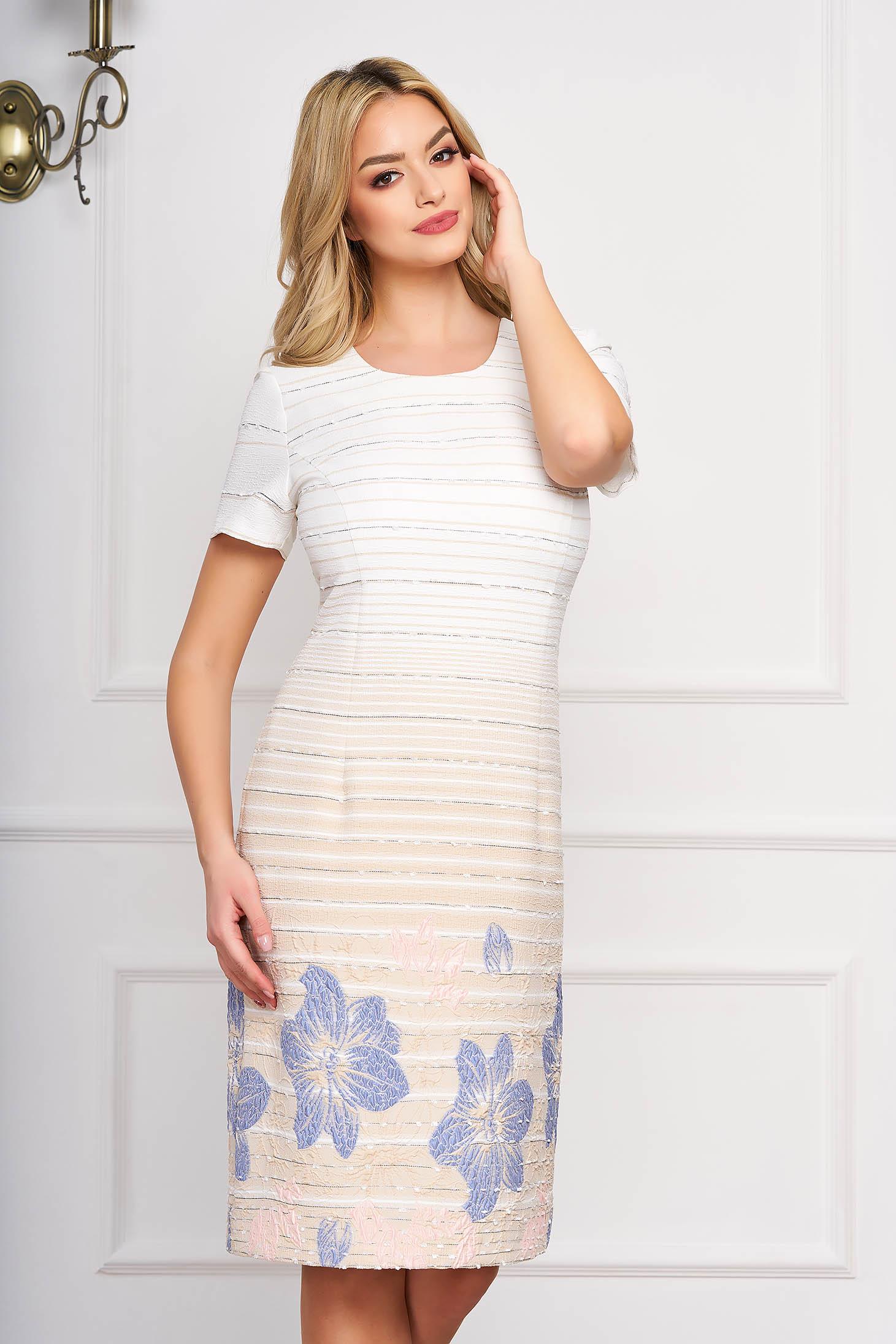 Rochie StarShinerS crem eleganta midi din stofa cu un croi drept si imprimeuri florale