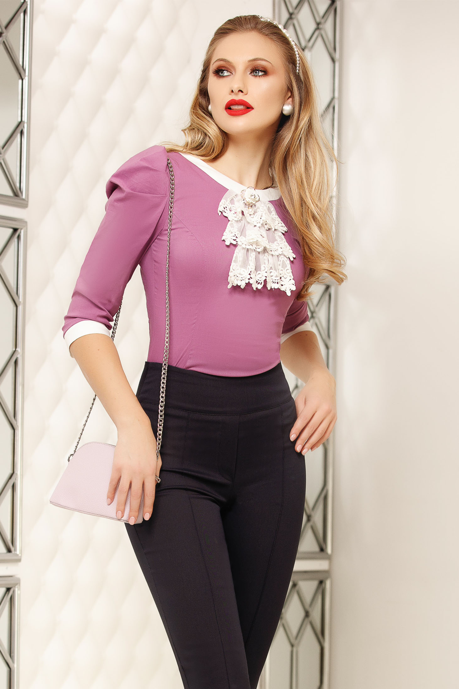 Lightpurple women`s shirt office accessorized with breastpin high shoulders tented short cut cotton