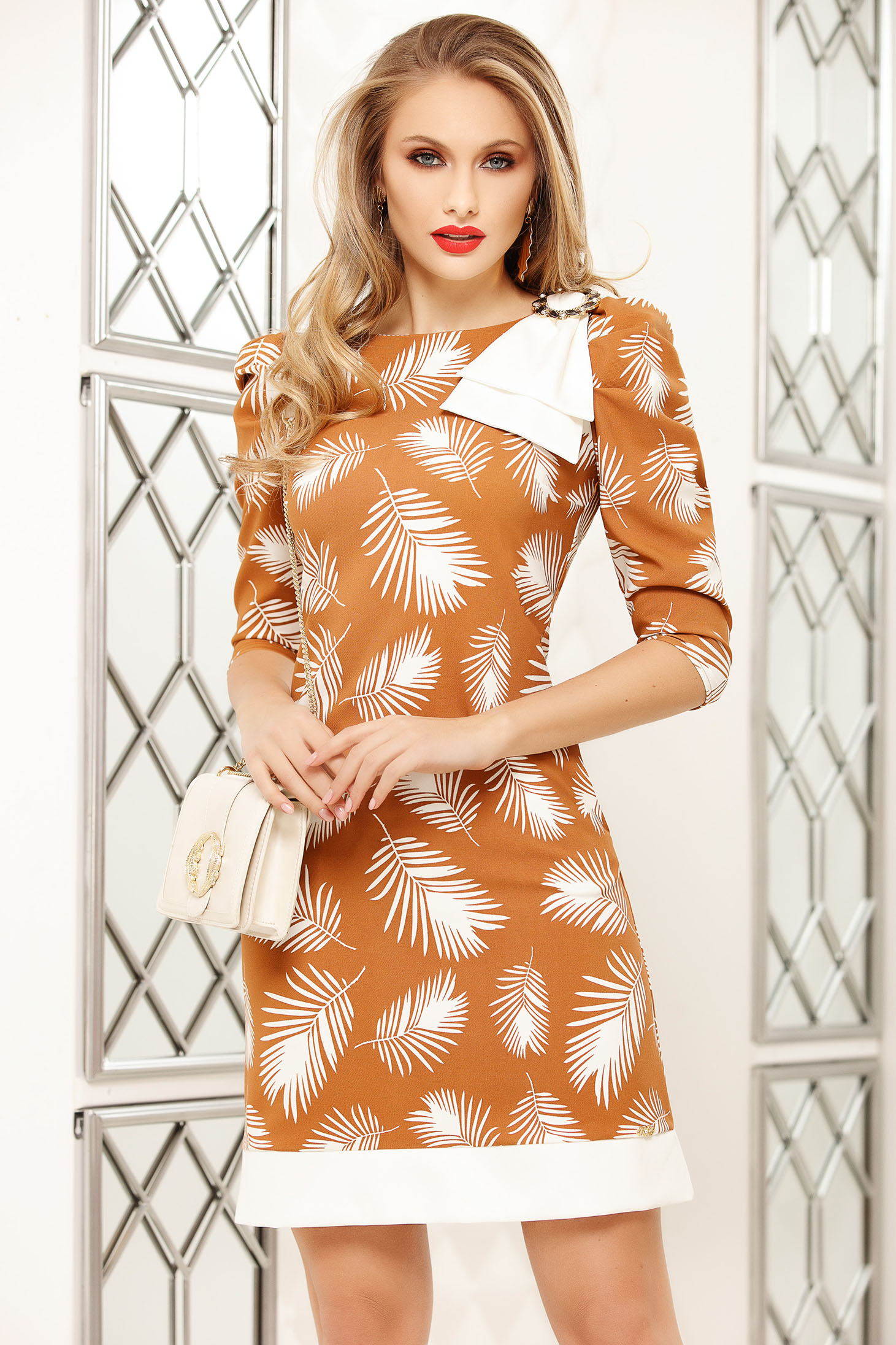 Dress brown office short cut a-line with floral prints accessorized with breastpin