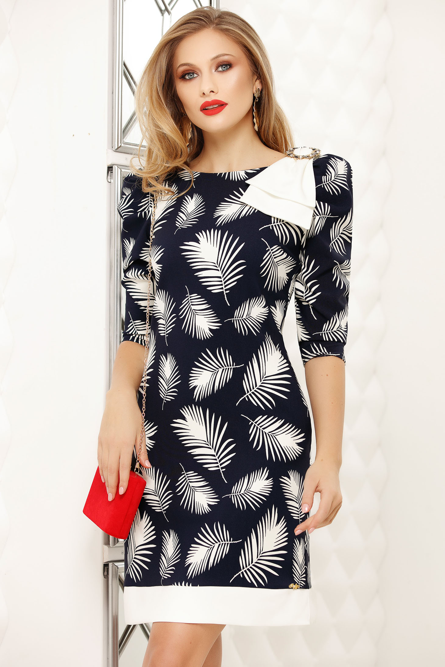 Dress darkblue office short cut a-line with floral prints accessorized with breastpin