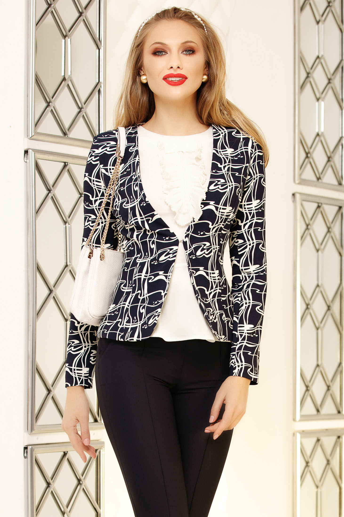 Jacket darkblue office tented short cut with graphic print cloth