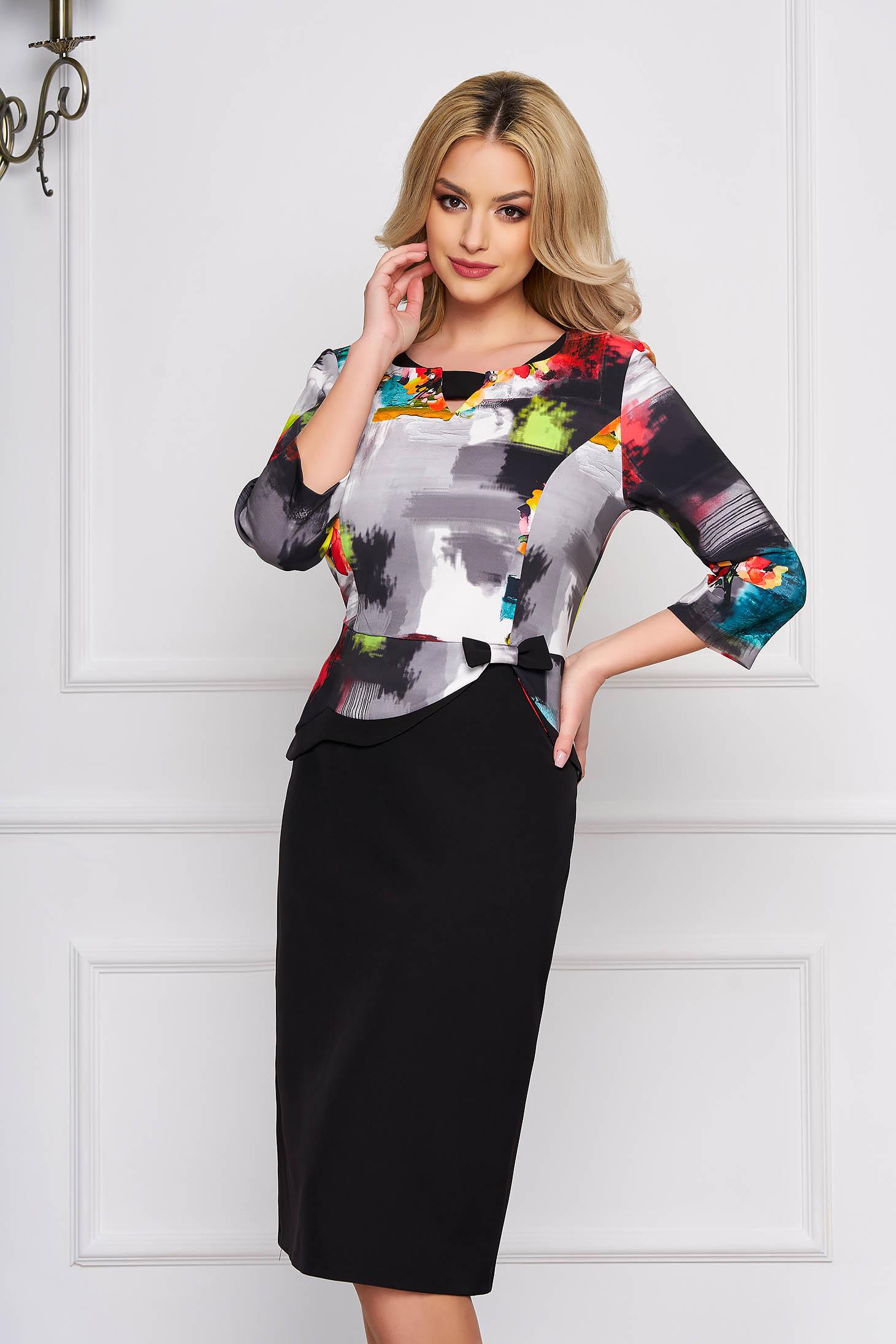 Grey dress with graphic print straight midi cloth elegant