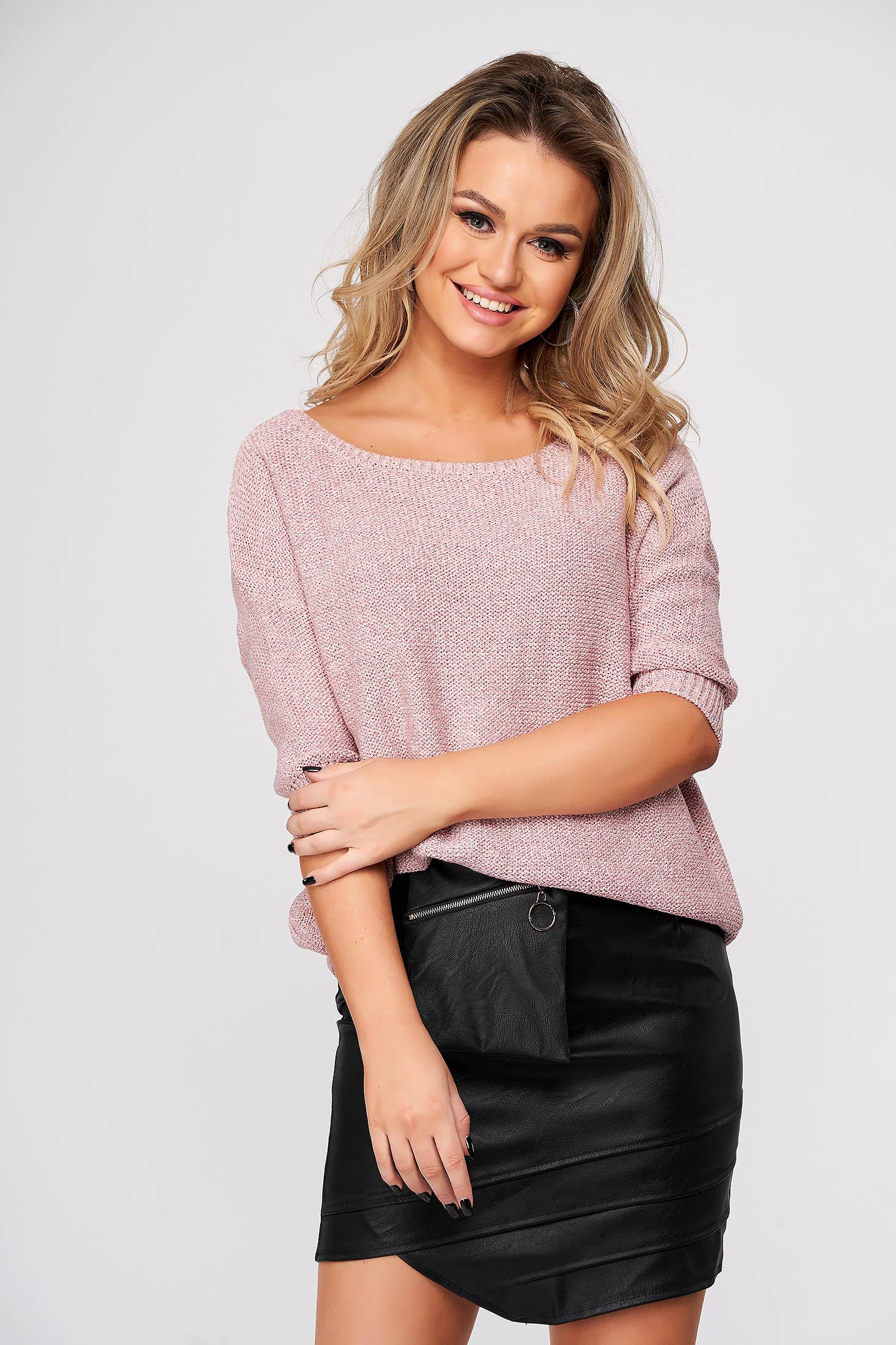 Pulover Top Secret roz casual cu croi larg din material tricotat cu fir stralucitor