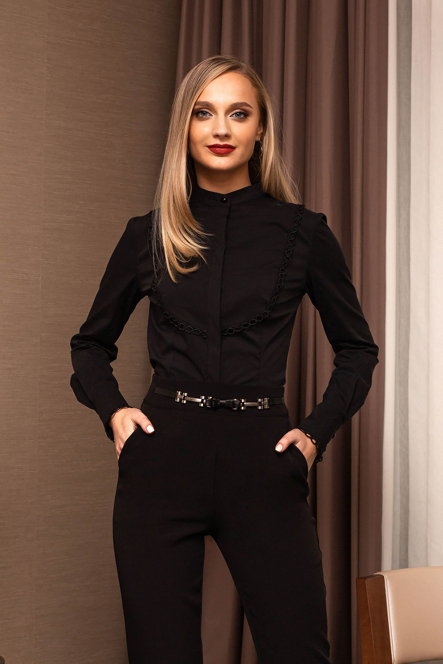Black office tented short cut women`s shirt with buttons long sleeved